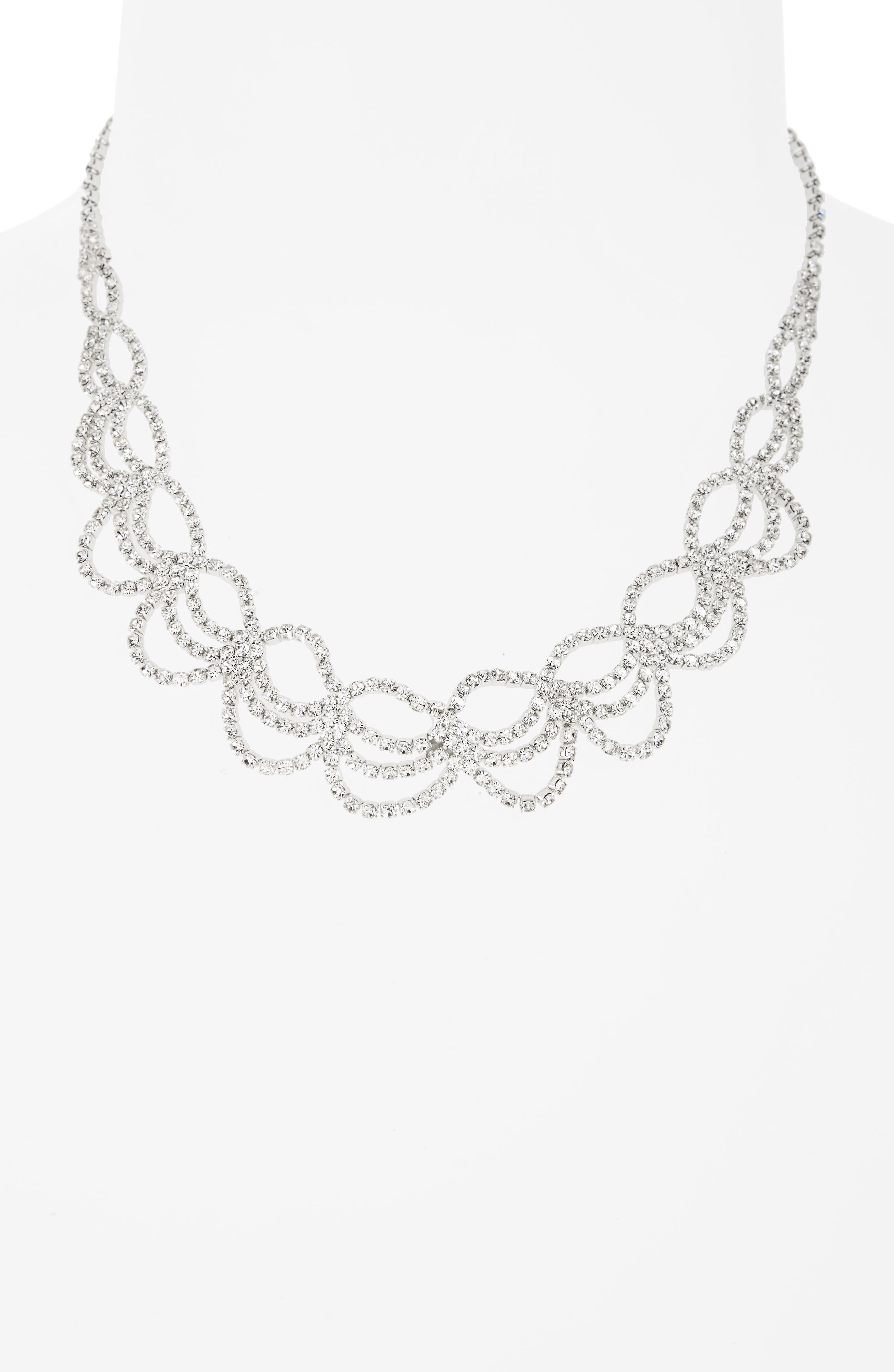 Swag Crystal Drama Collar Necklace,                             Alternate thumbnail 2, color,                             Silver