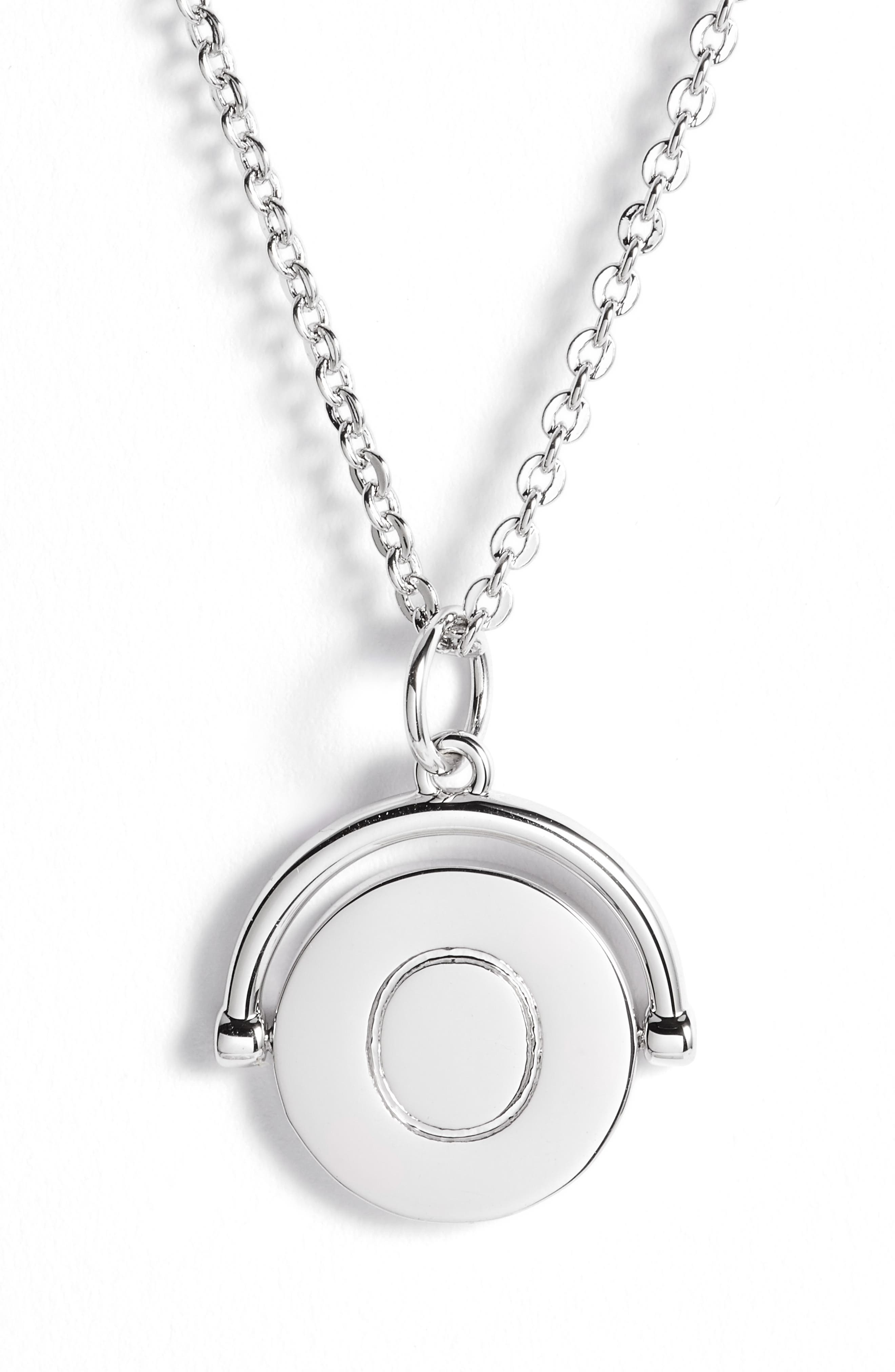 Love Letters Initial Spinning Pendant Necklace,                             Alternate thumbnail 6, color,                             Silver/ O