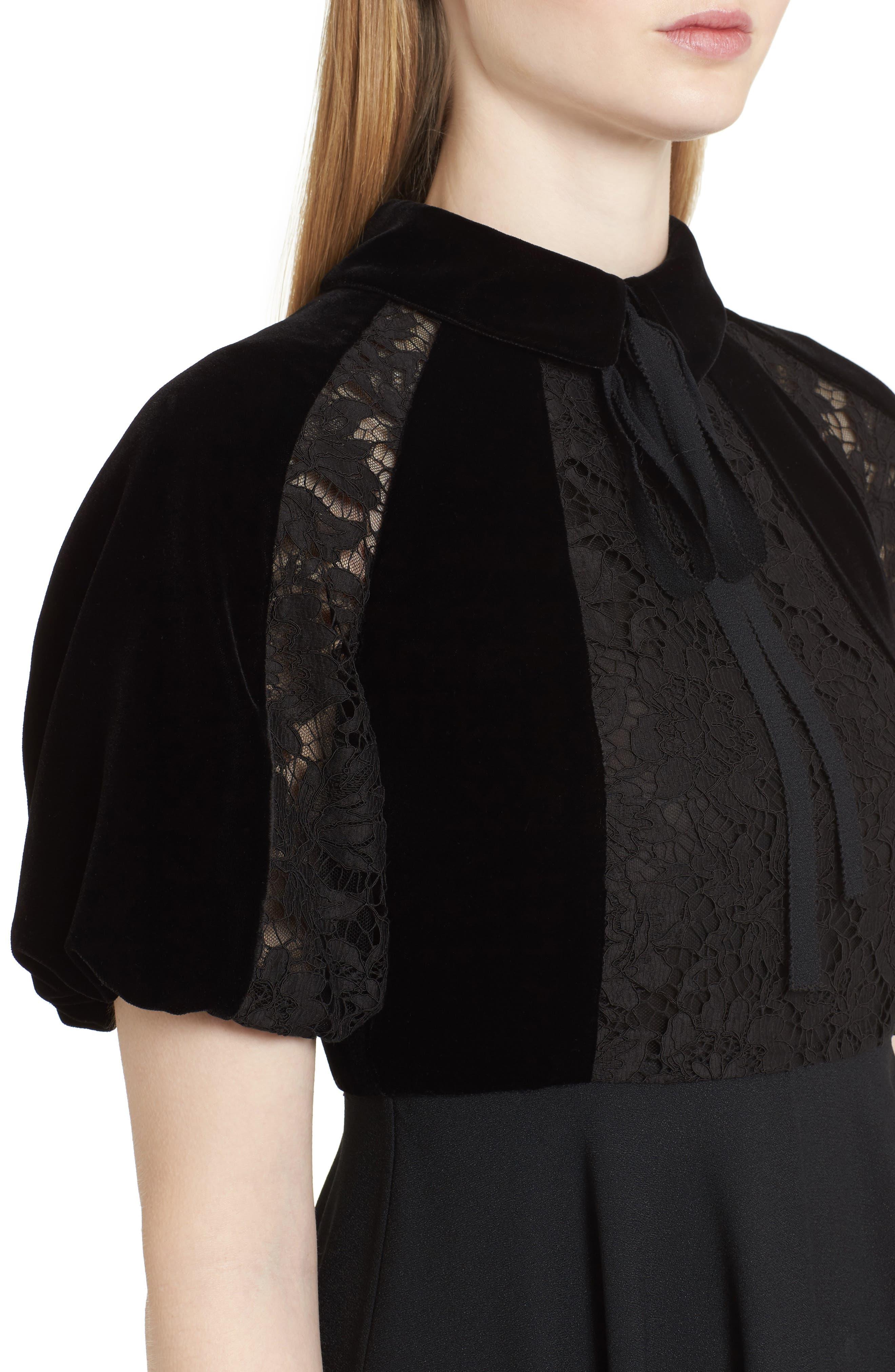Guipure Lace Inset Crepe Dress,                             Alternate thumbnail 4, color,                             Black