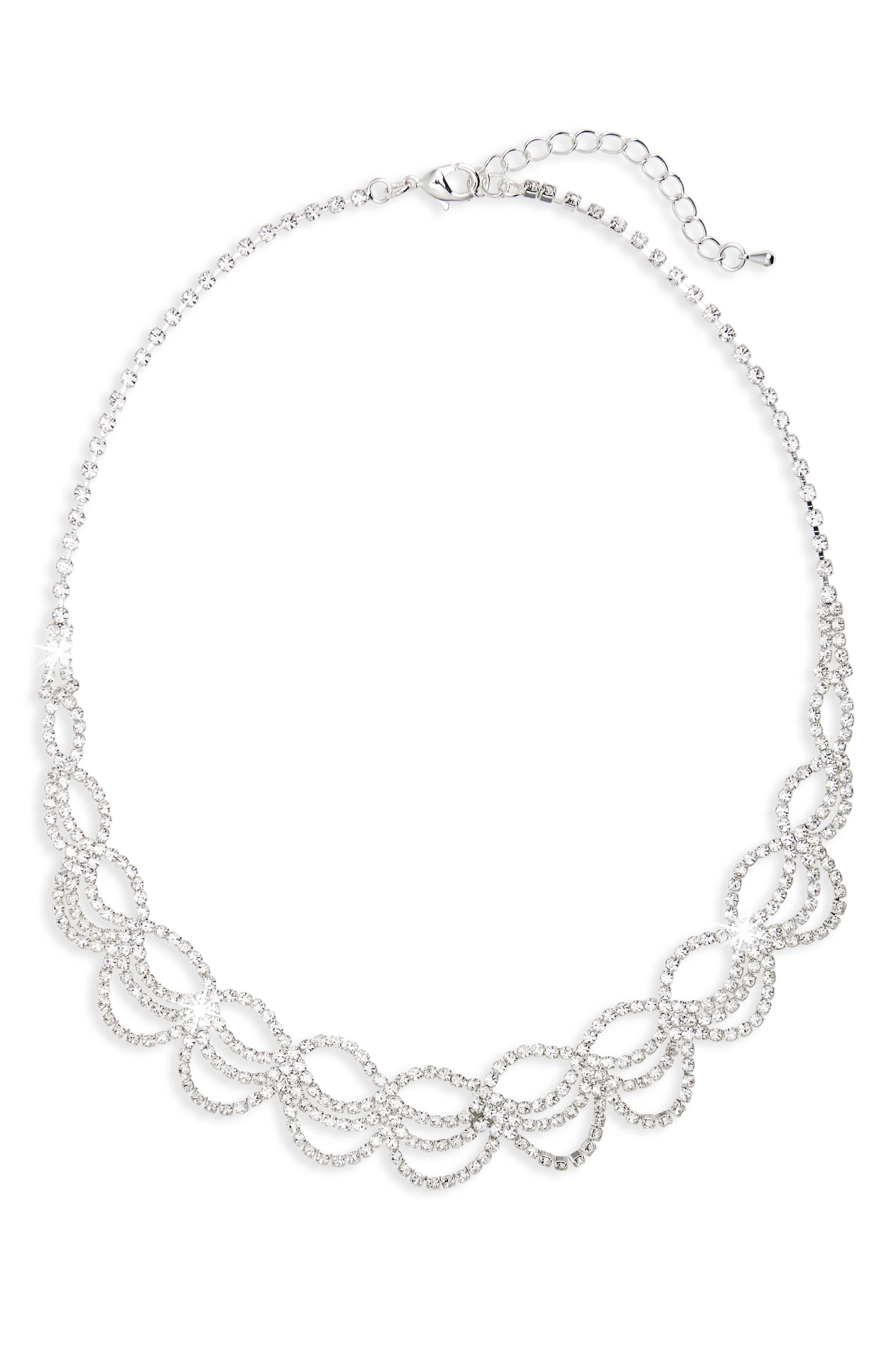Swag Crystal Drama Collar Necklace,                         Main,                         color, Silver