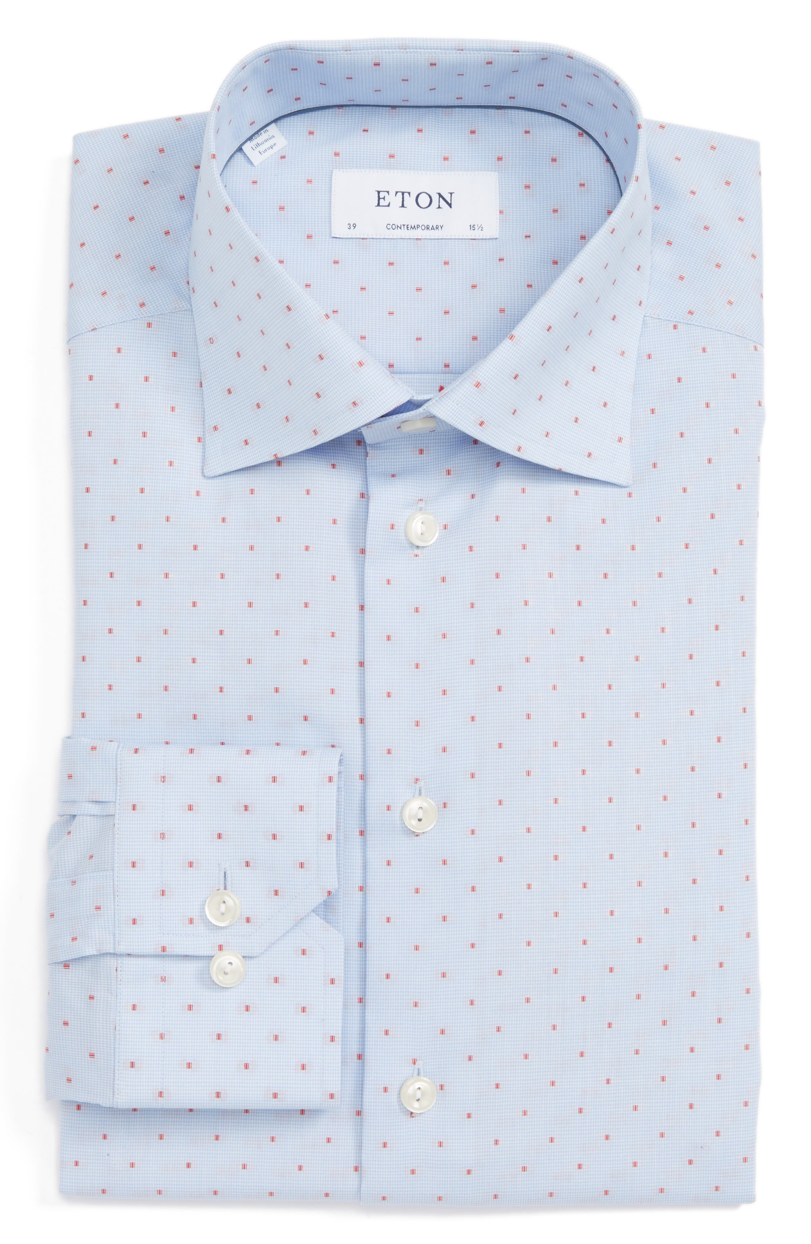 Main Image - Eton Contemporary Fit Dot Dress Shirt