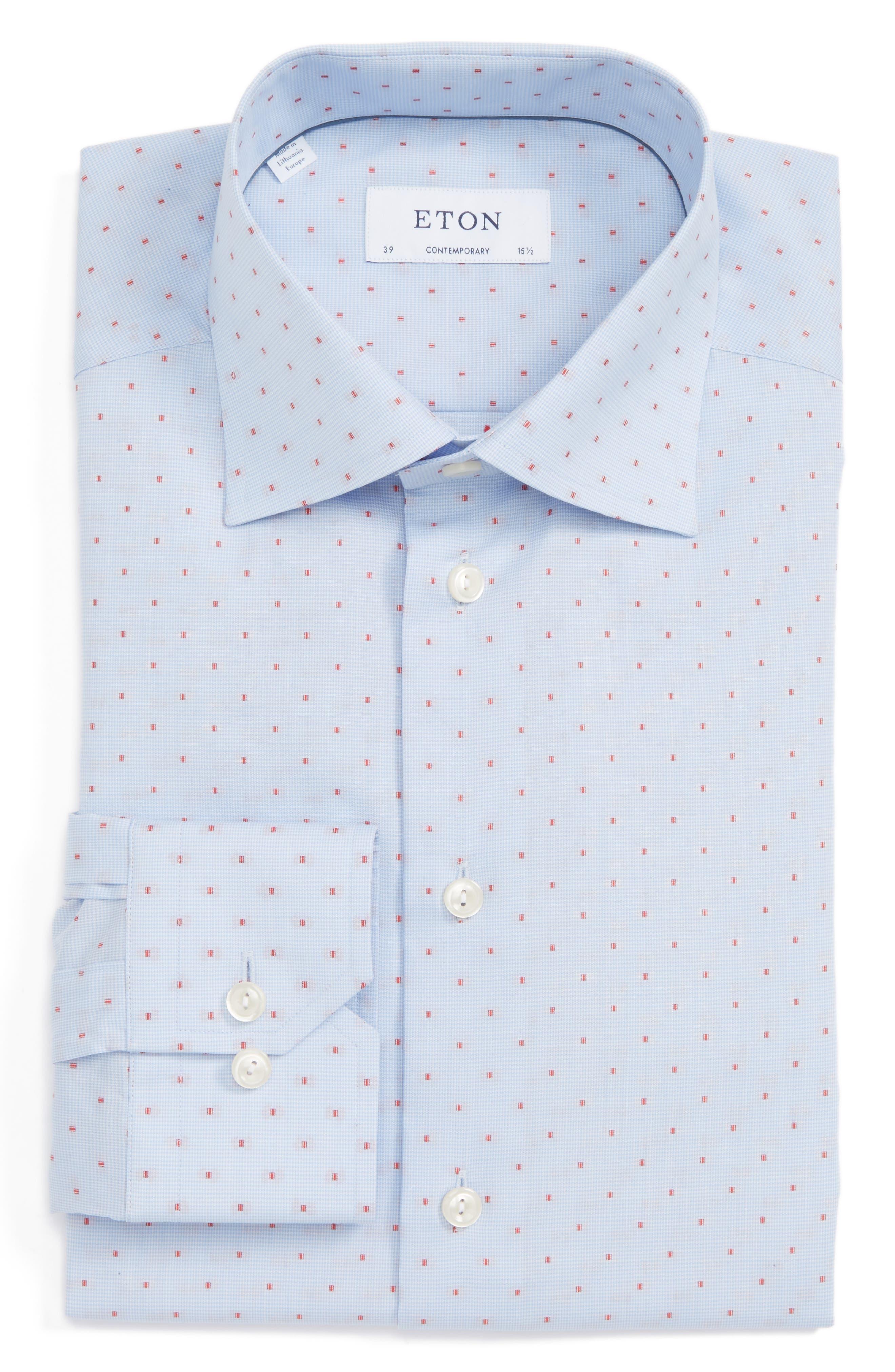 Contemporary Fit Dot Dress Shirt,                         Main,                         color, Blue