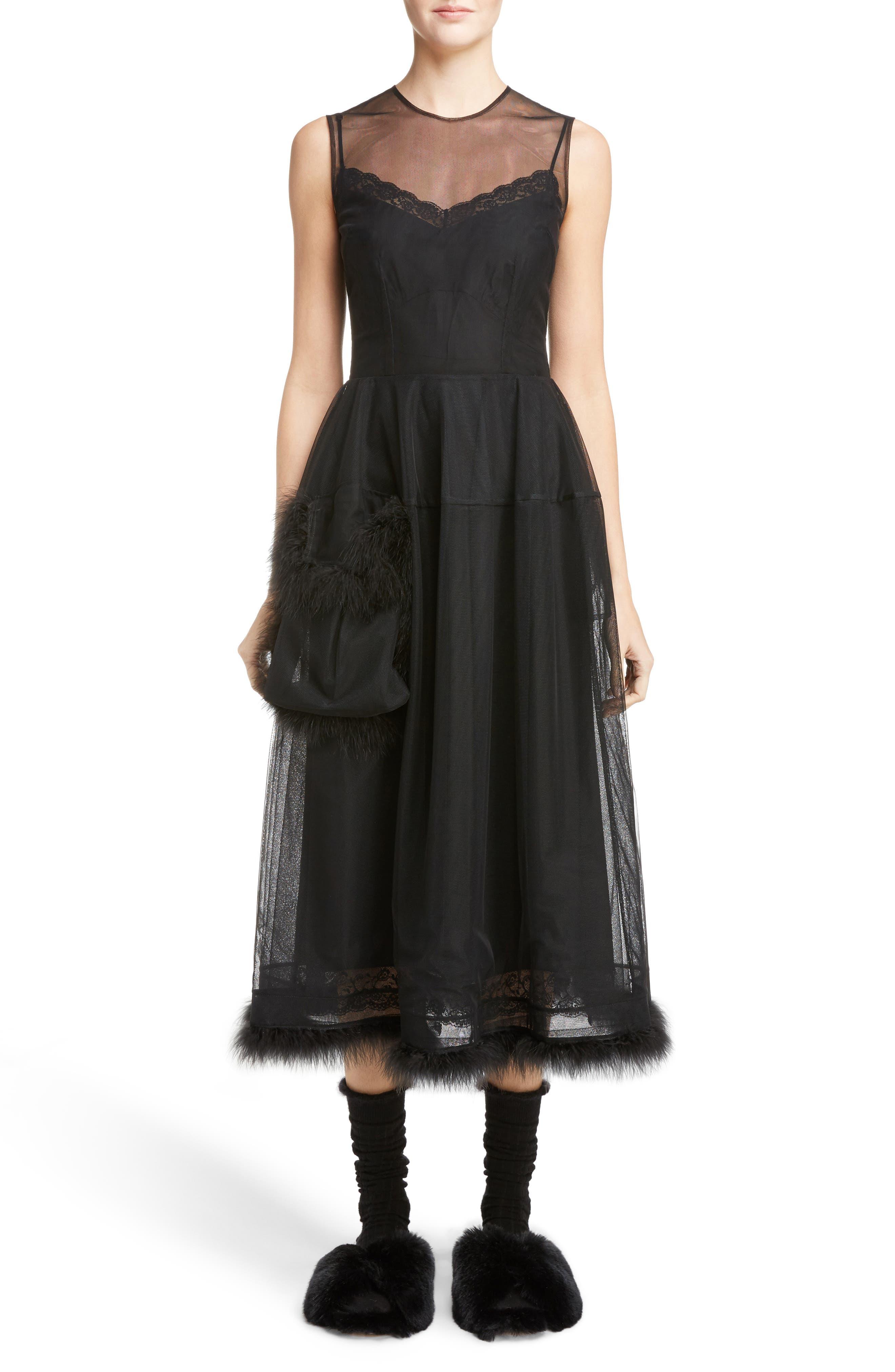 Simone Rocha Teddy Feather Trim Tulle Dress