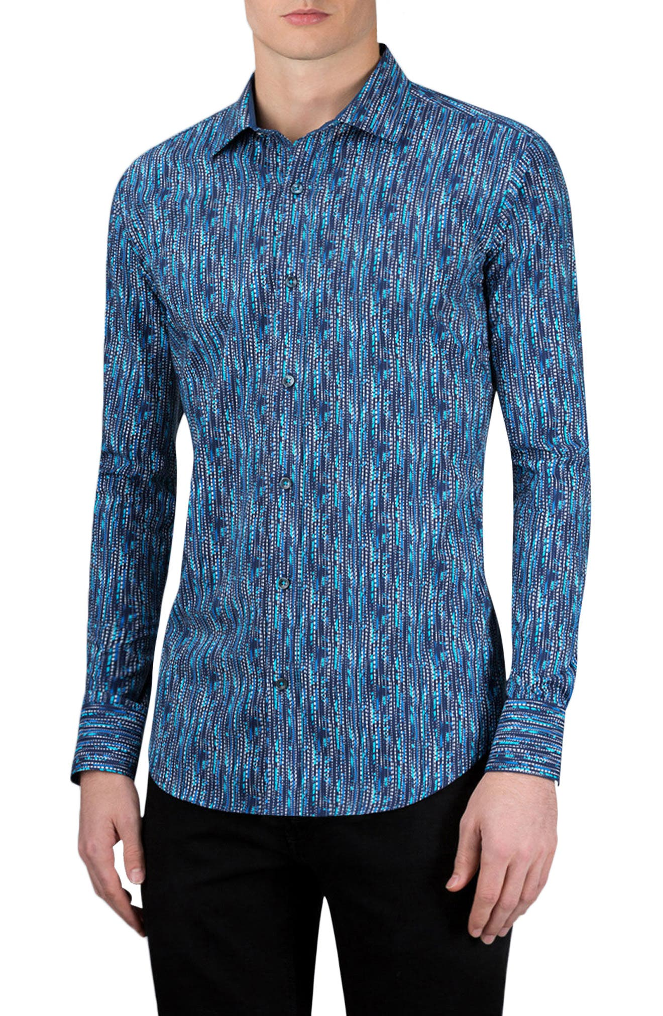 Classic Fit Graphic Sport Shirt,                         Main,                         color, Navy