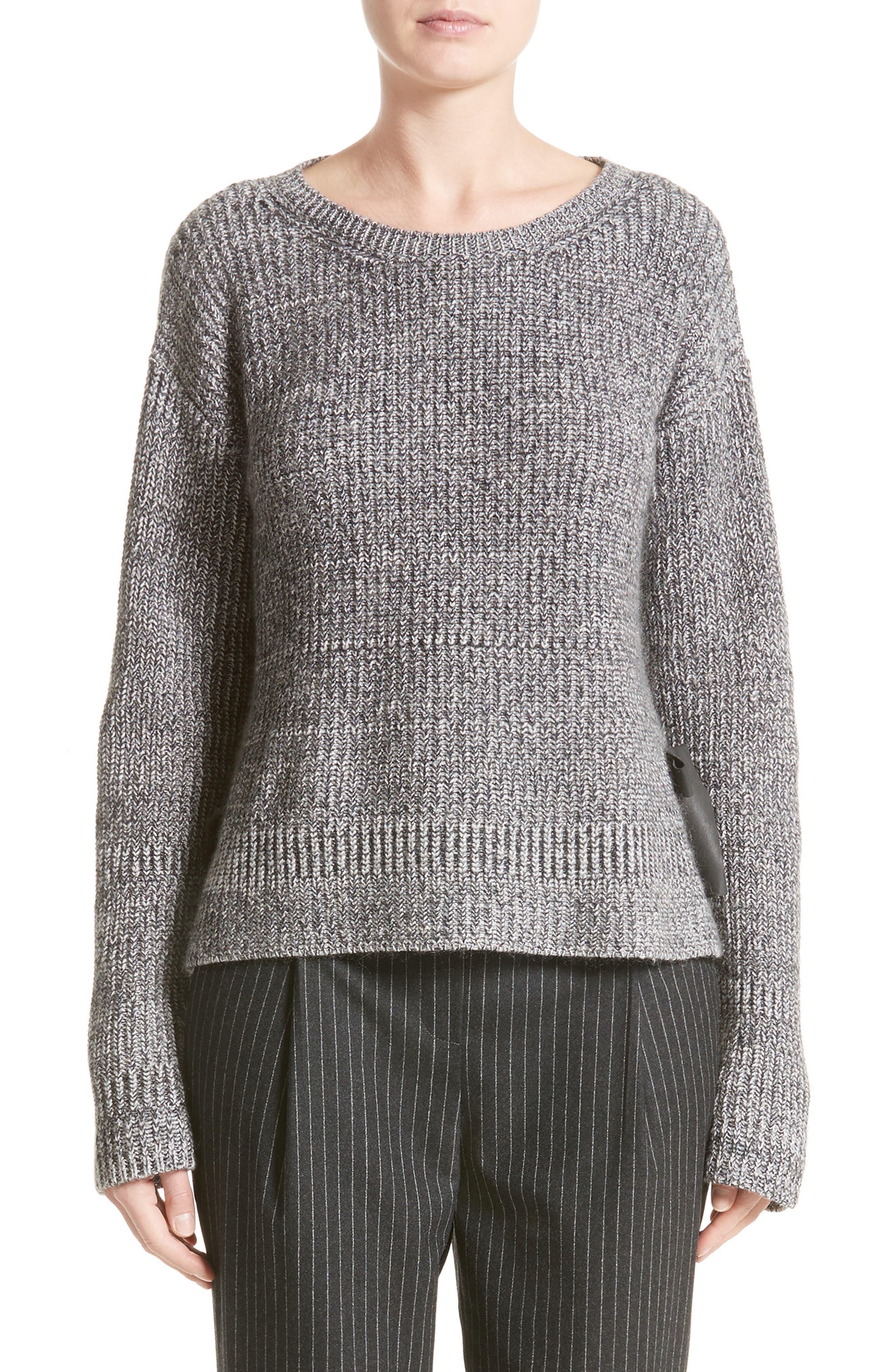 Herringbone Stitch Wool Blend Sweater,                             Main thumbnail 1, color,                             Grey Multi