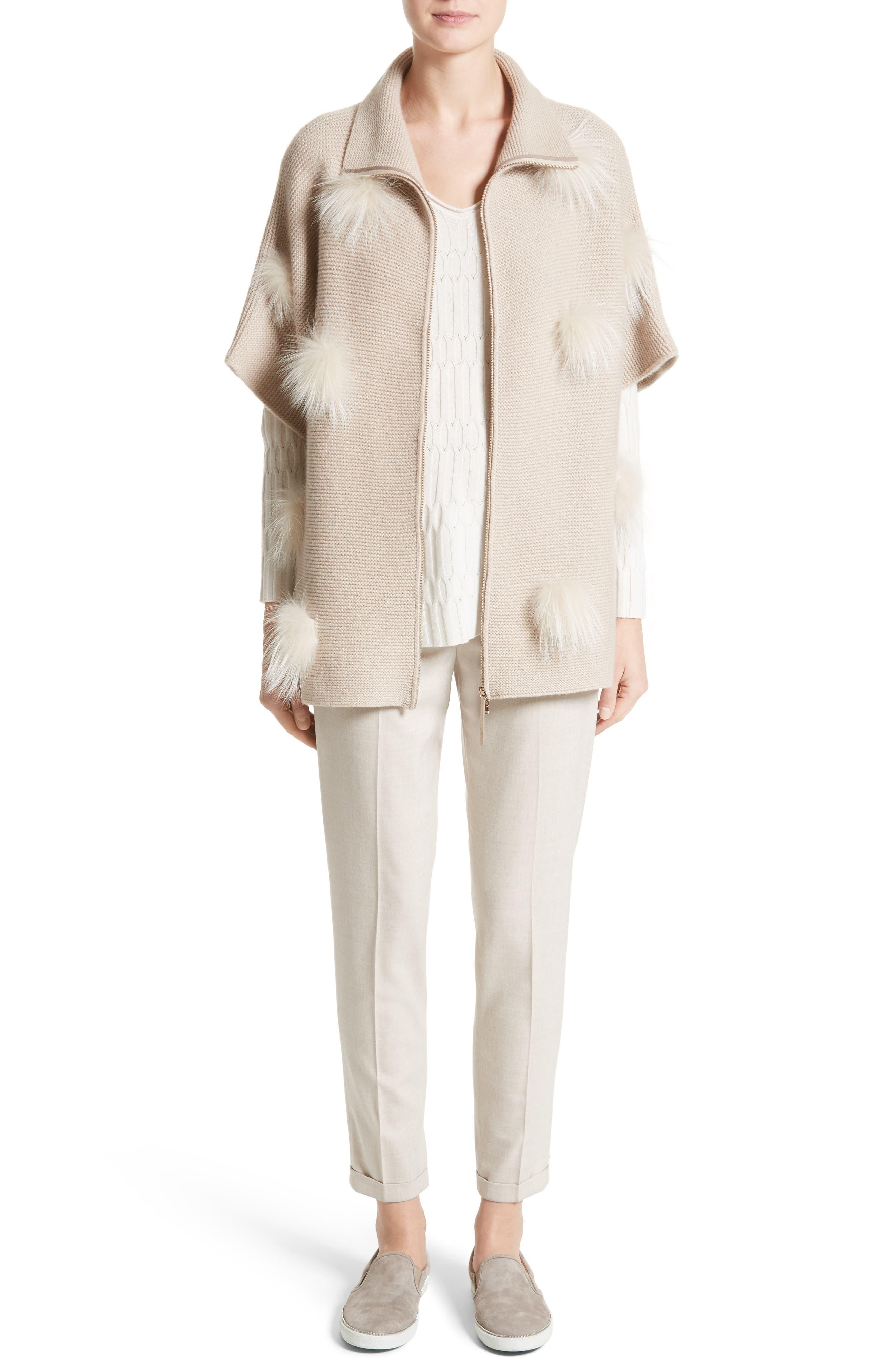 Alternate Image 7  - Fabiana Filippi Micro Braid Cashmere Zip Cardigan with Genuine Fox Fur Trim