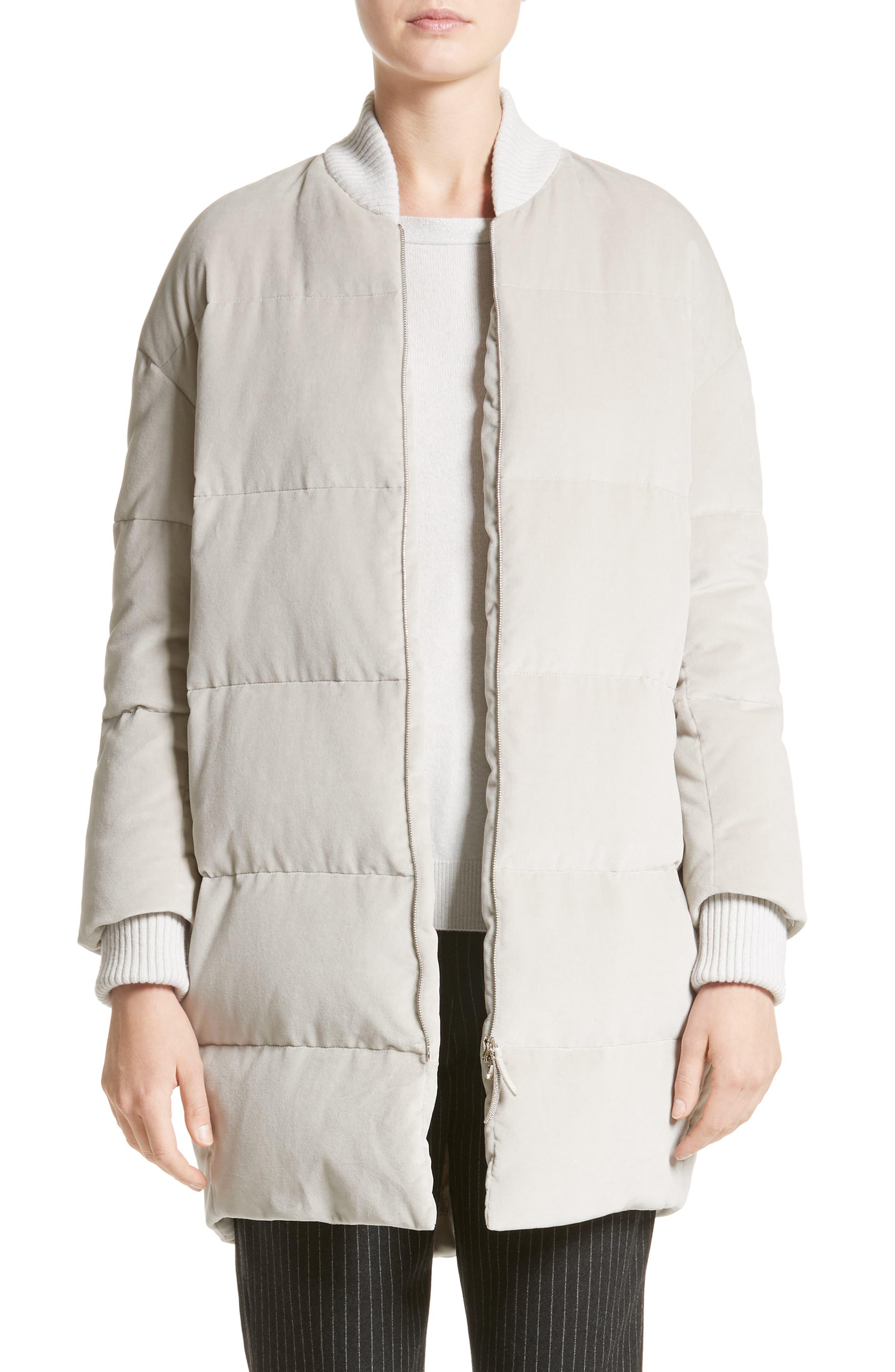 Water-Repellent Velvet Down Coat,                         Main,                         color, Ice