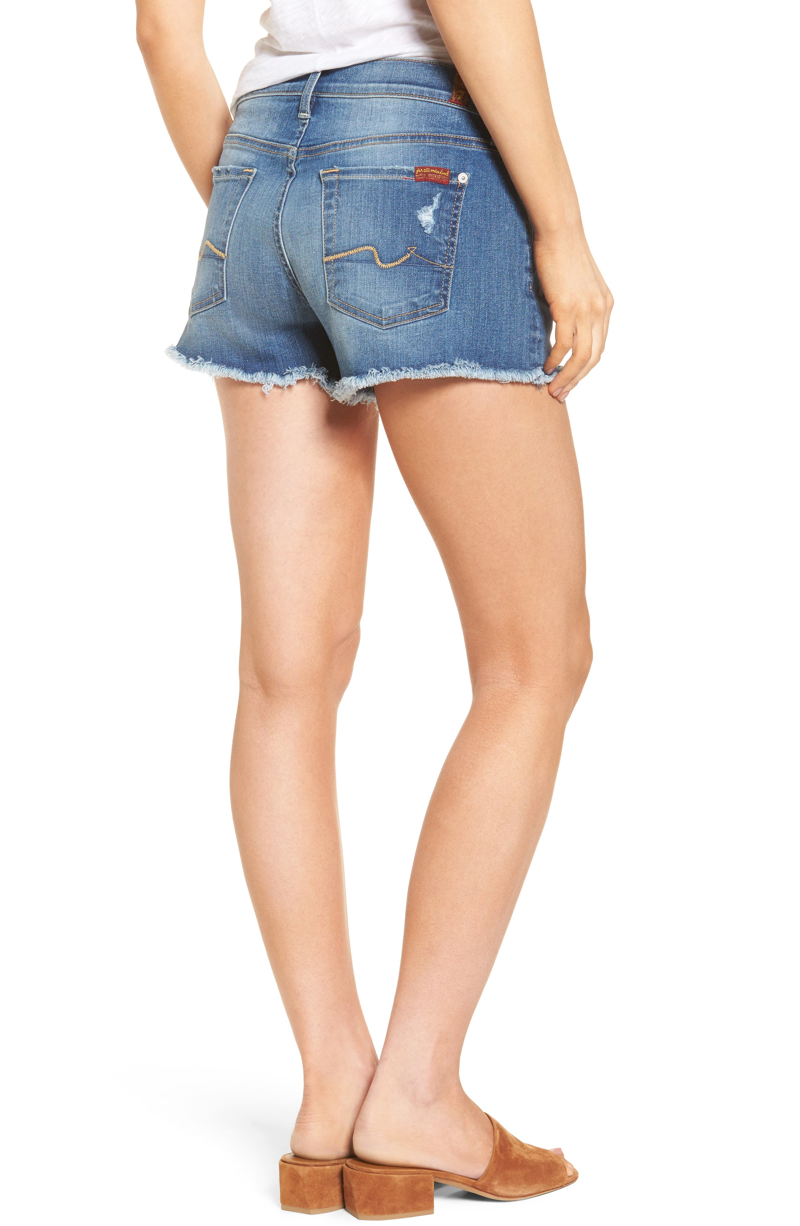 Alternate Image 2  - 7 For All Mankind® High Waist Cutoff Denim Shorts (Ocean Mist) (Nordstrom Exclusive Color)