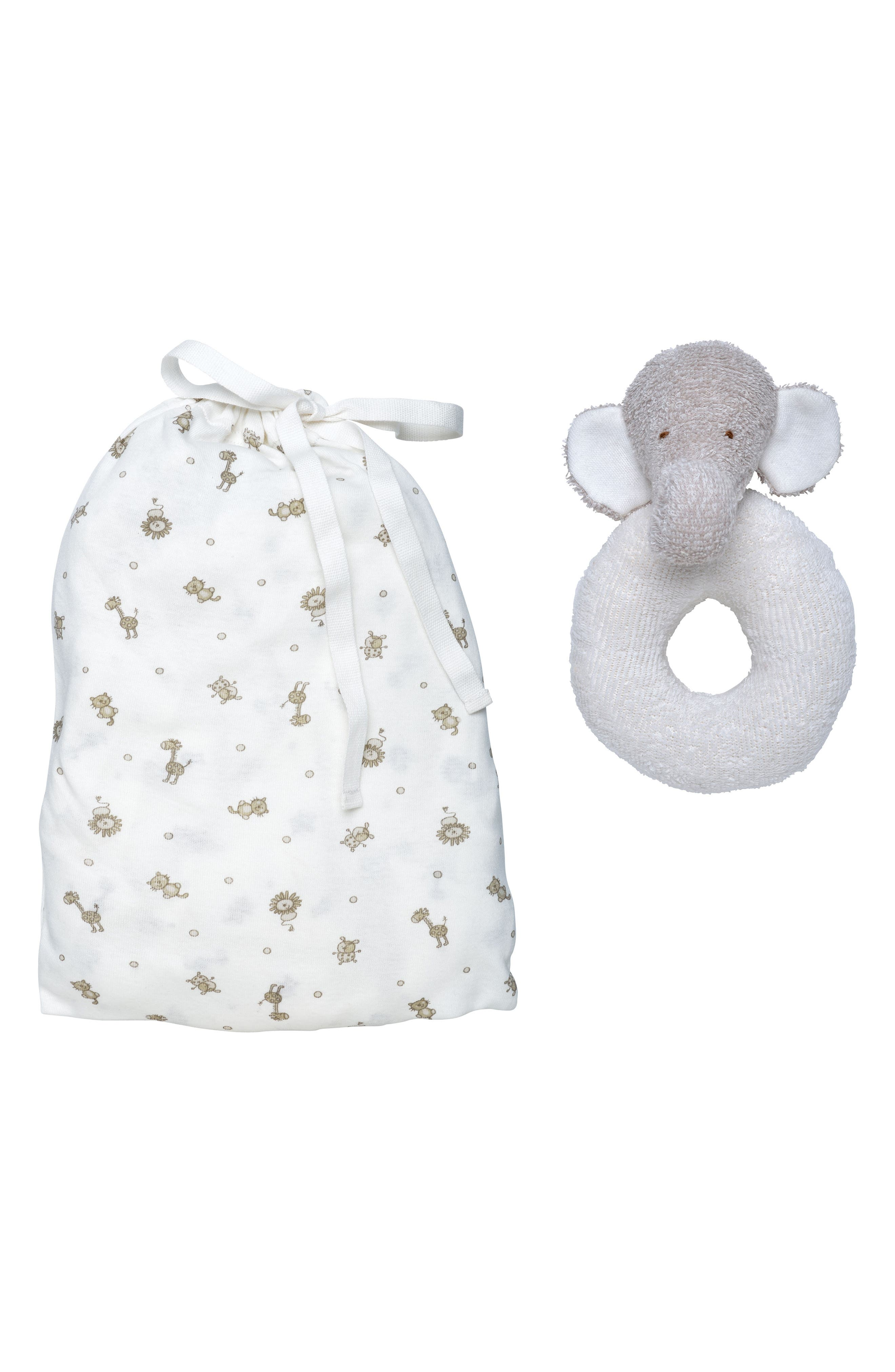 Alternate Image 1 Selected - Under the Nile 2-Piece Safari Print Fitted Crib Sheet & Stuffed Elephant Toy Set