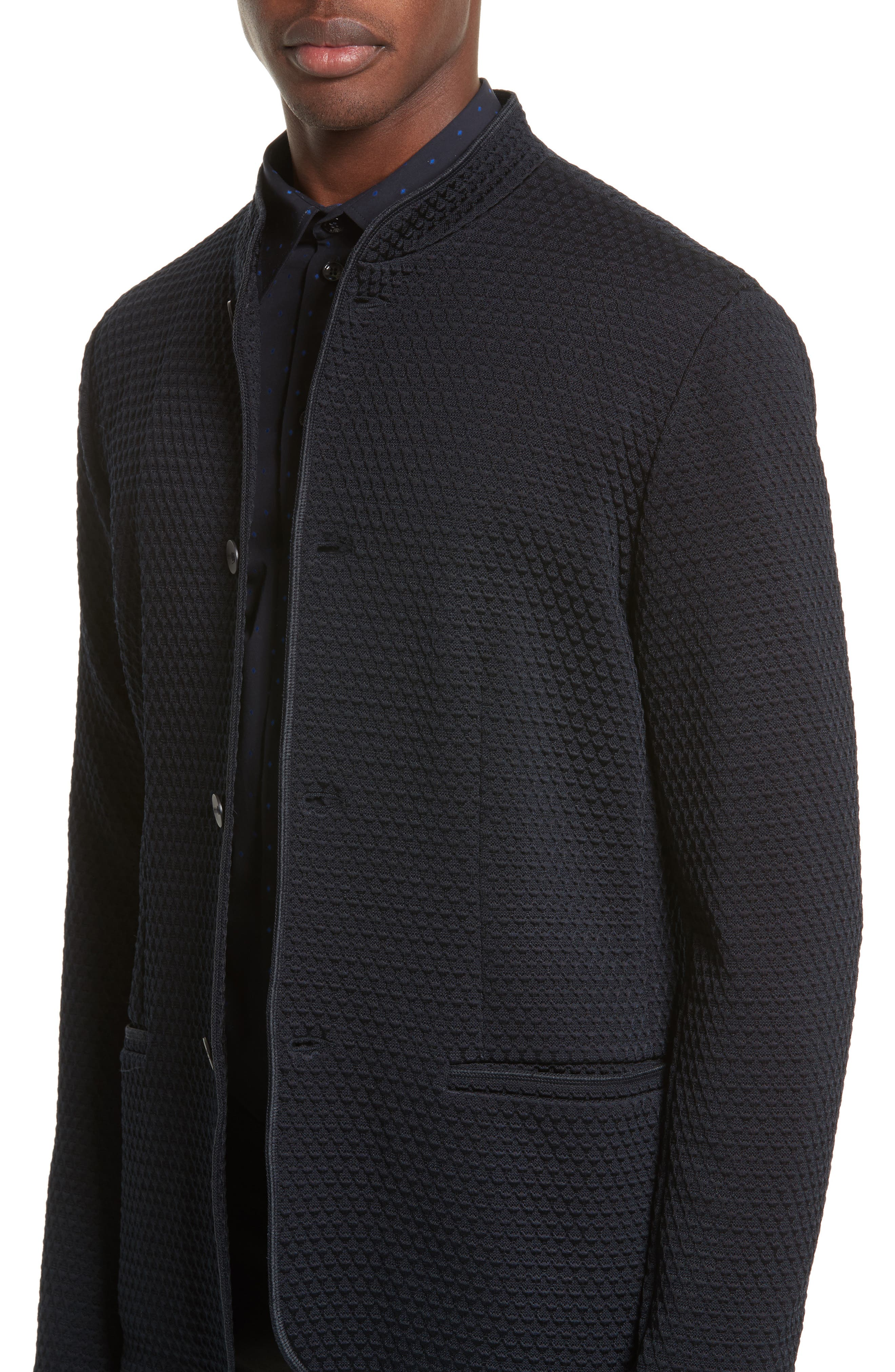 Alternate Image 4  - Armani Collezioni Jacquard Button Front Sweater
