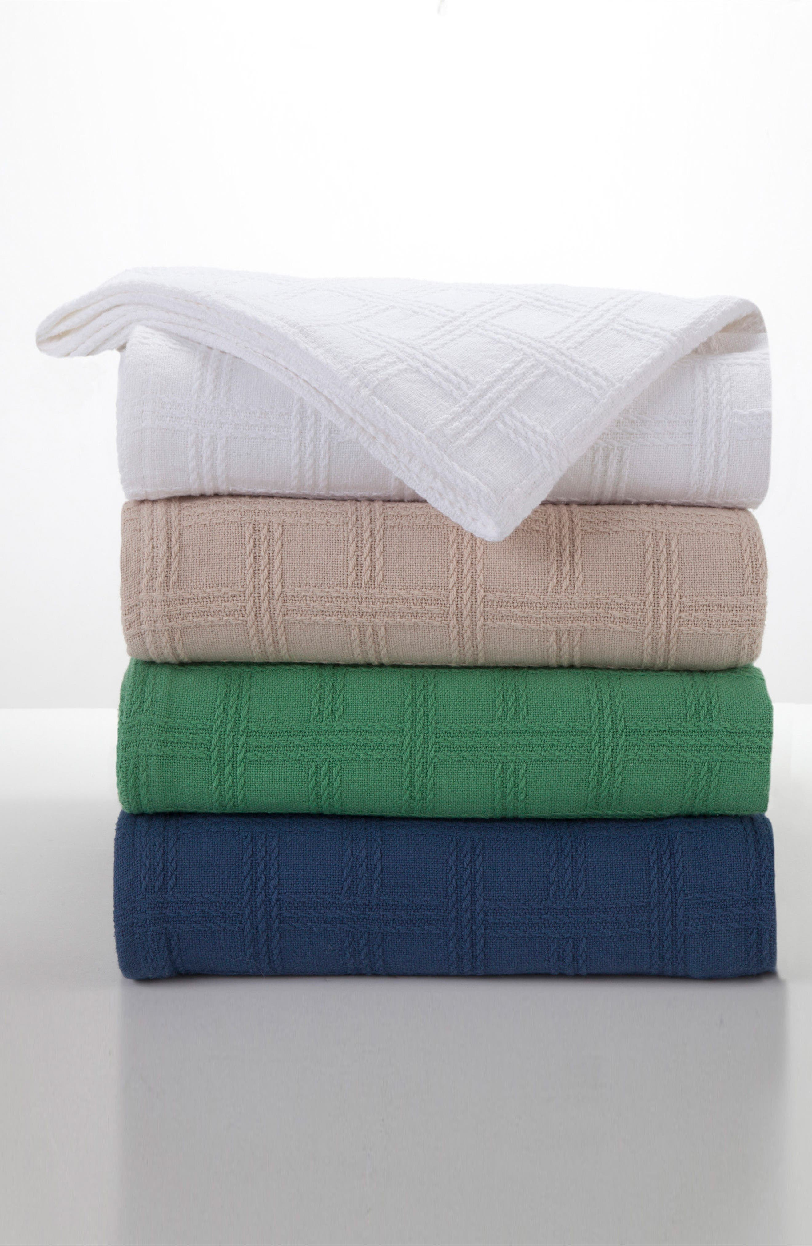 Classic Cotton Twin Size Blanket,                             Alternate thumbnail 3, color,                             Nautical Blue