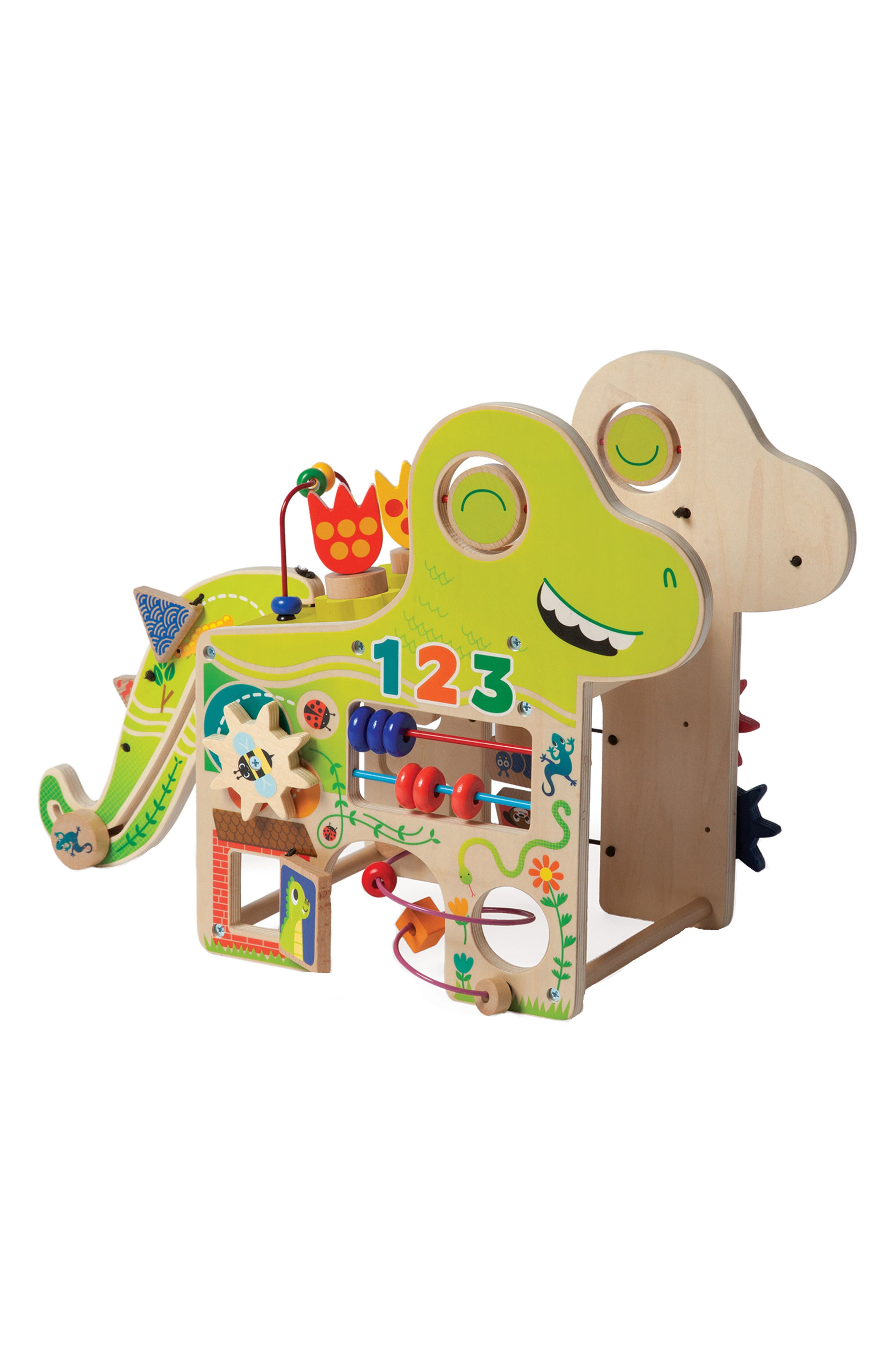 Wooden Playful Dino Activity Center,                             Main thumbnail 1, color,                             Green