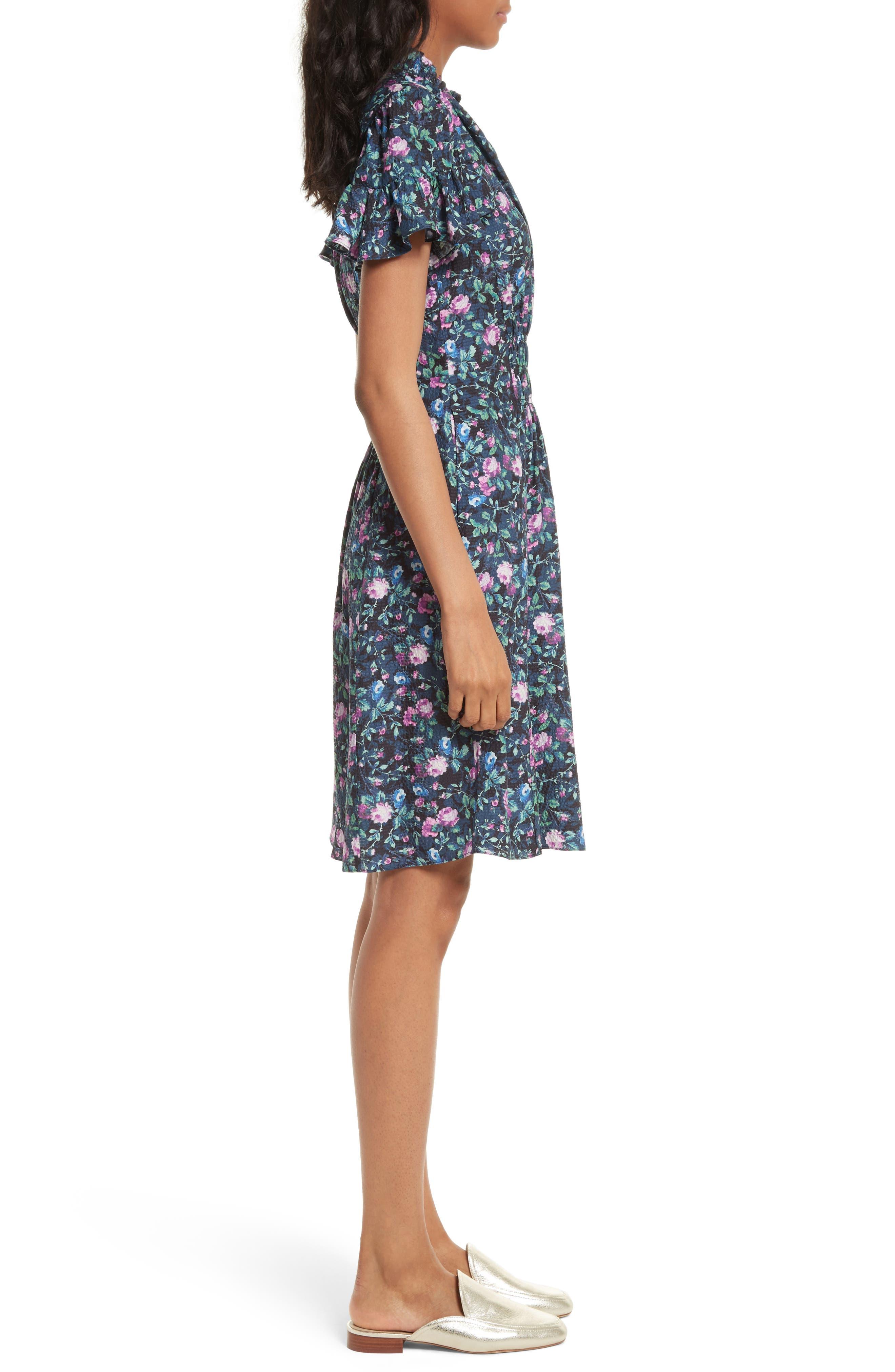 Alternate Image 3  - Rebecca Taylor Ruby Floral Smocked Silk Dress