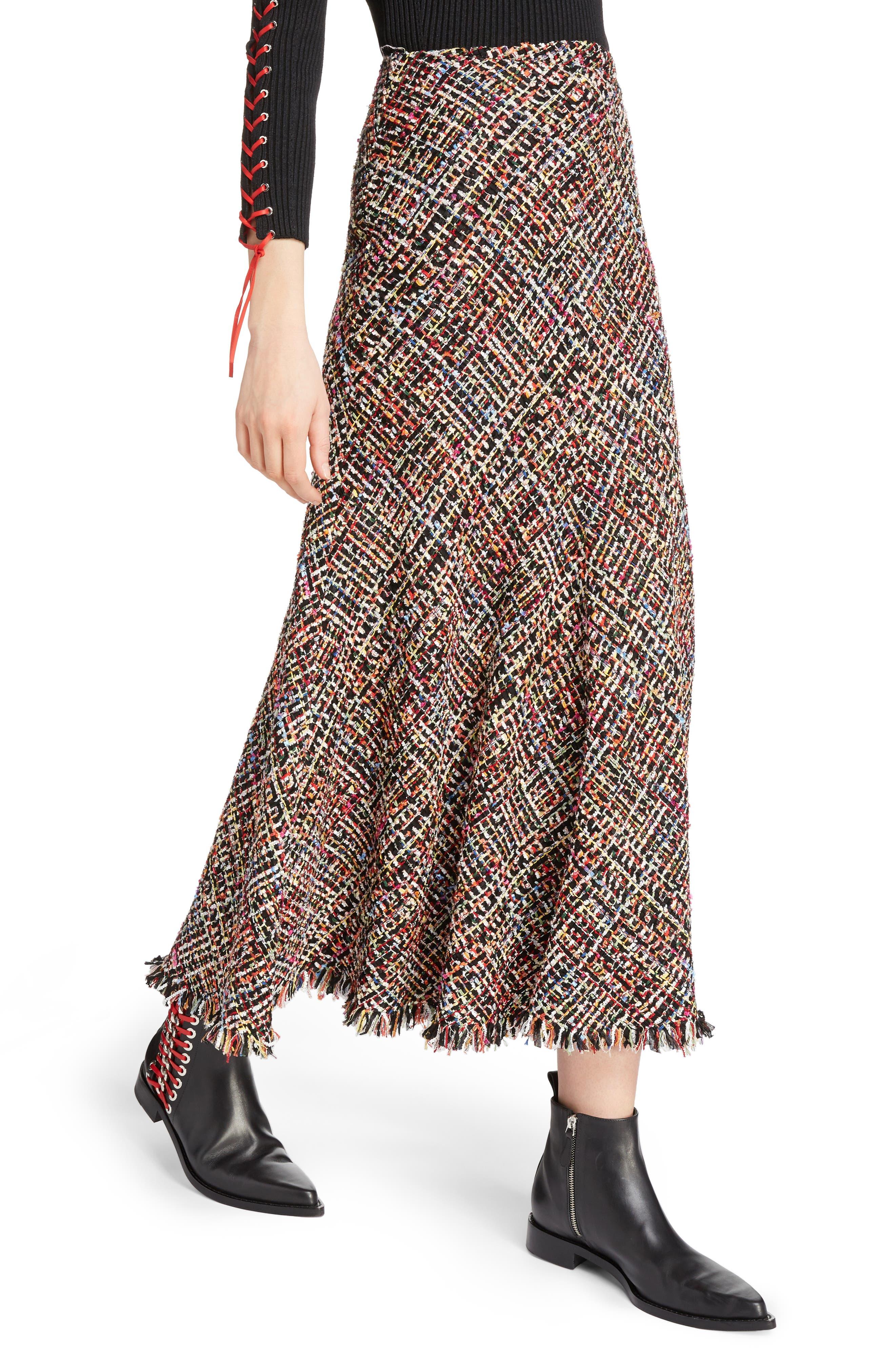 Wishing Tree Tweed Skirt,                             Alternate thumbnail 4, color,                             Black Mix