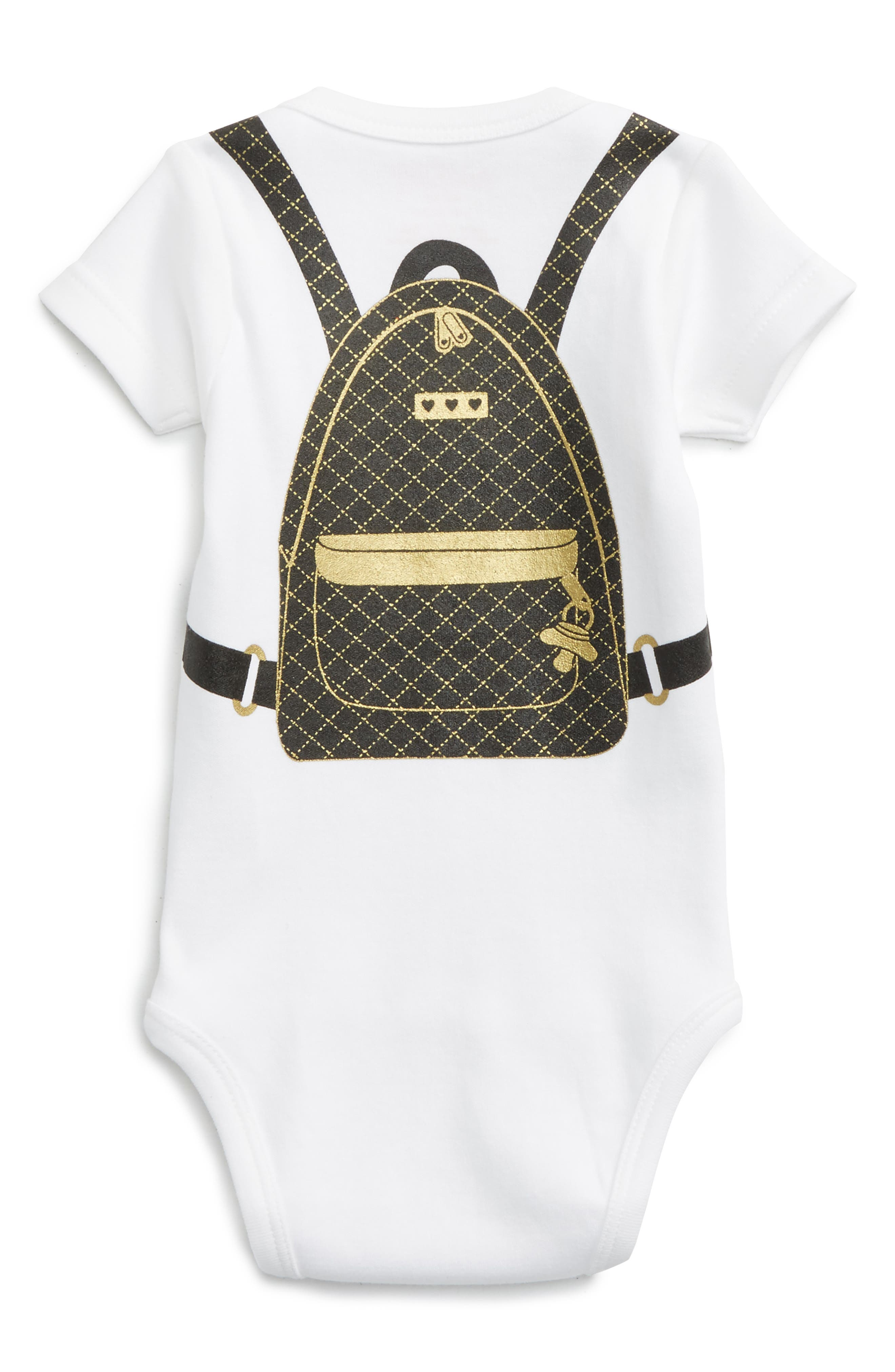 Quilted Backpack Bodysuit,                             Alternate thumbnail 2, color,                             White