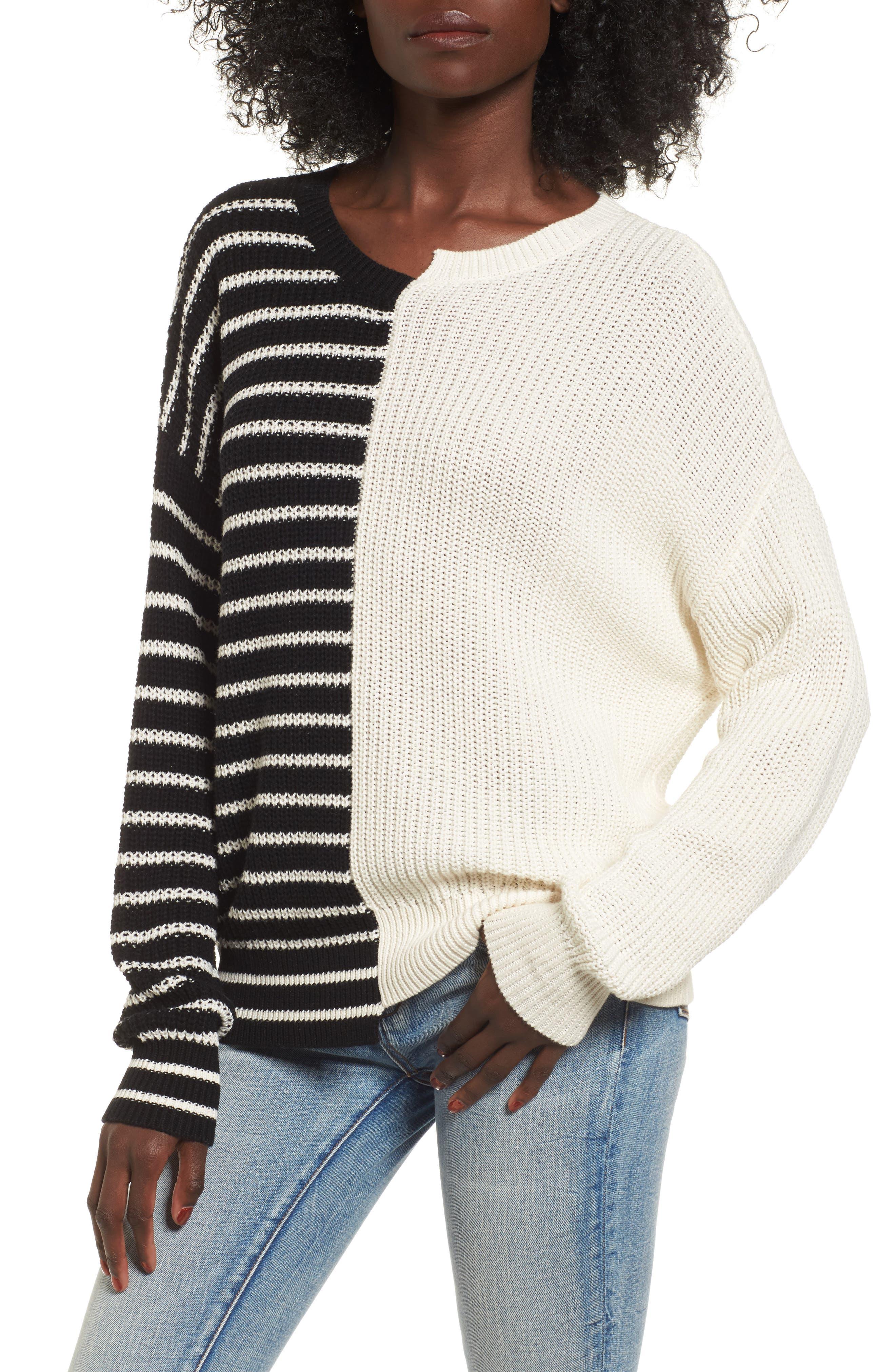 Colorblock Cotton Sweater,                         Main,                         color, Black Linda Stripe