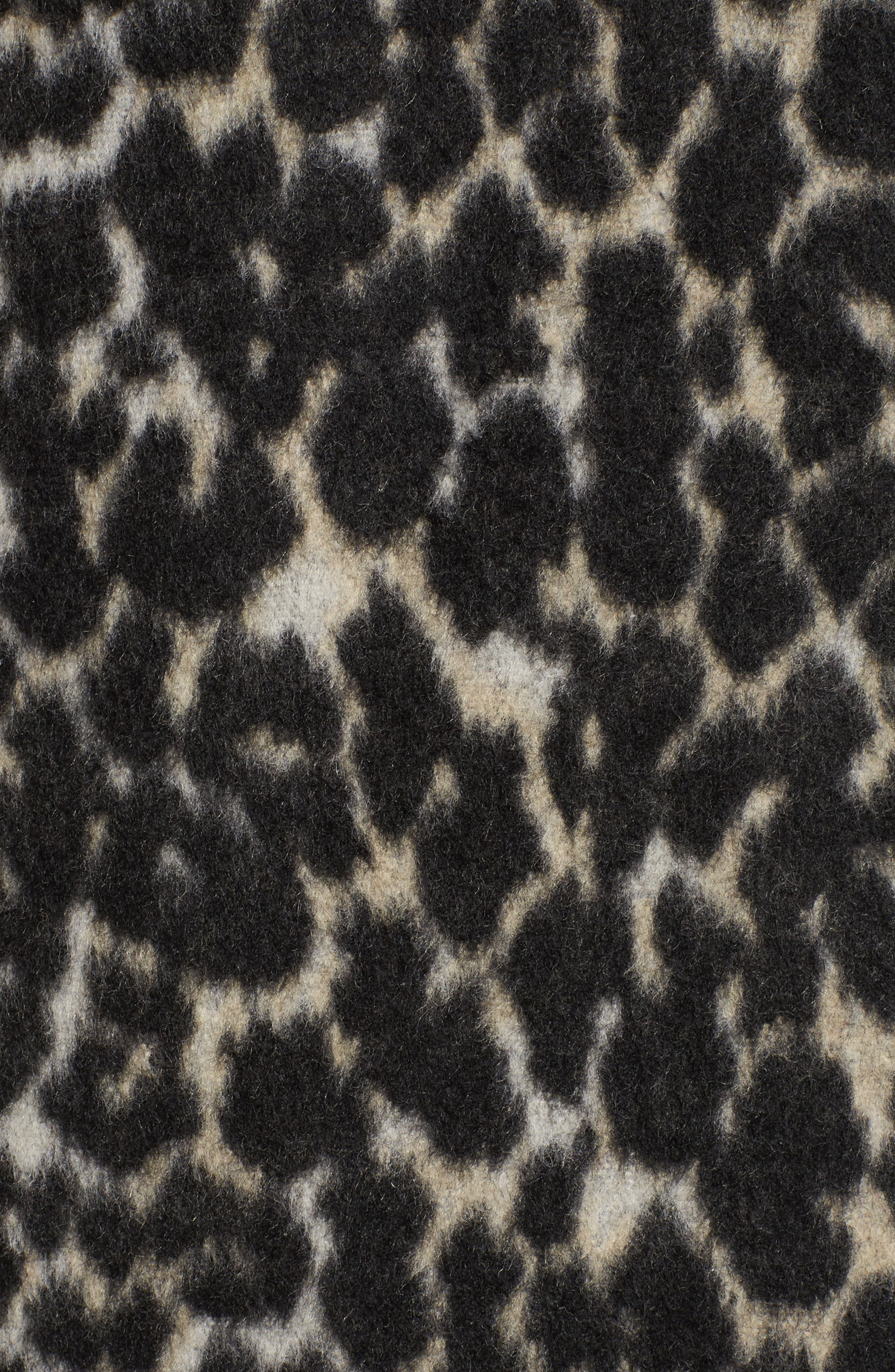 Leopard Print Longline Bomber Jacket,                             Alternate thumbnail 5, color,                             Cream Leopard