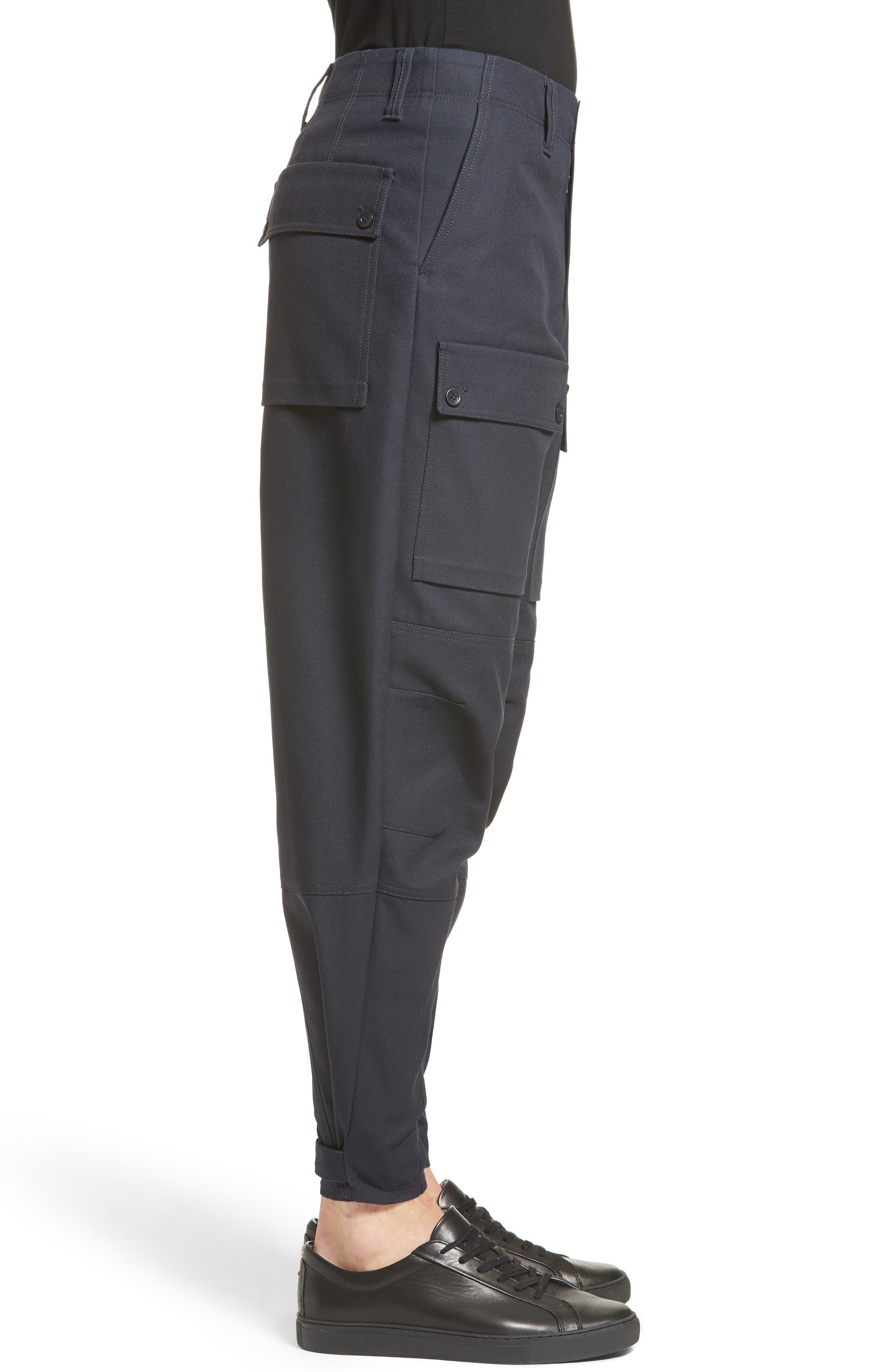 Abbi Twill Cargo Pants,                             Alternate thumbnail 3, color,                             Navy