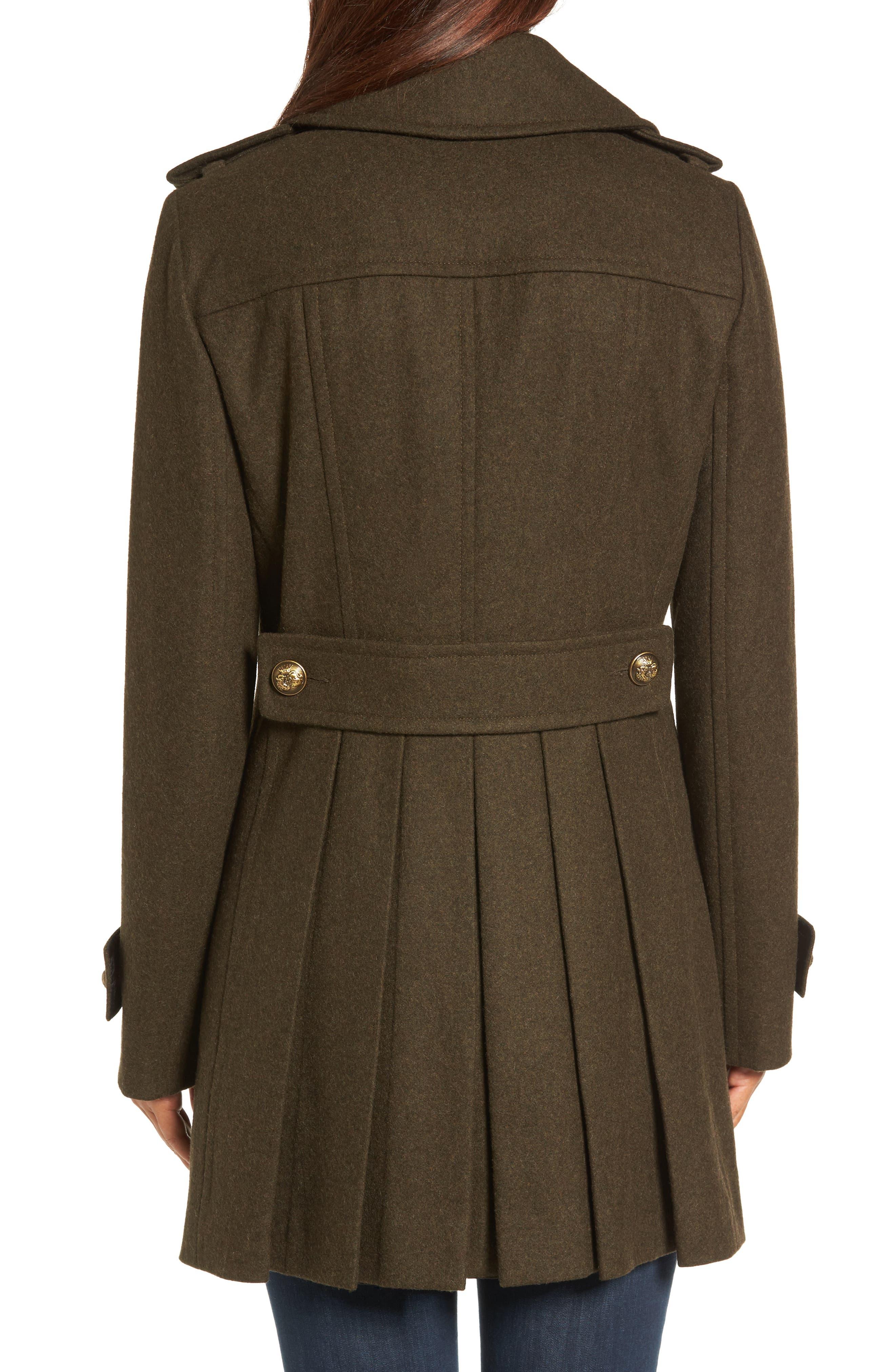 Wool Blend Skirted Military Coat,                             Alternate thumbnail 2, color,                             Olive
