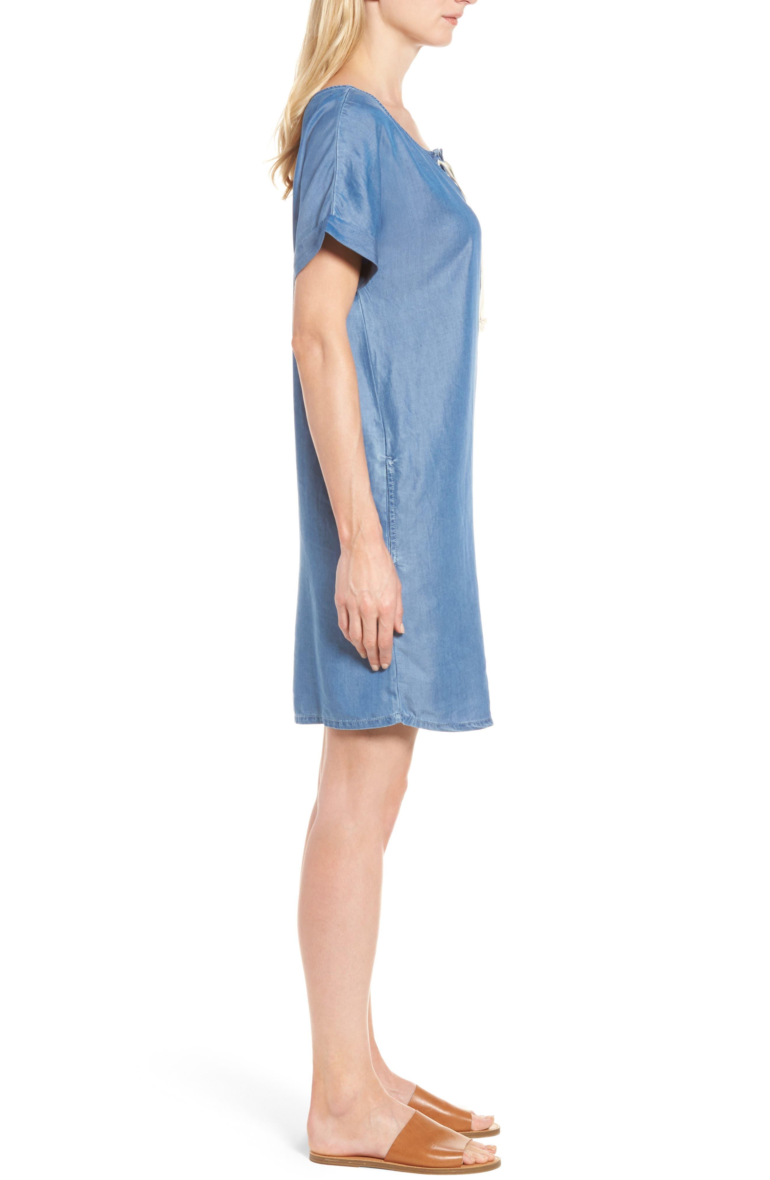 Alternate Image 3  - Caslon® Lace-Up Shift Dress (Regular & Petite)