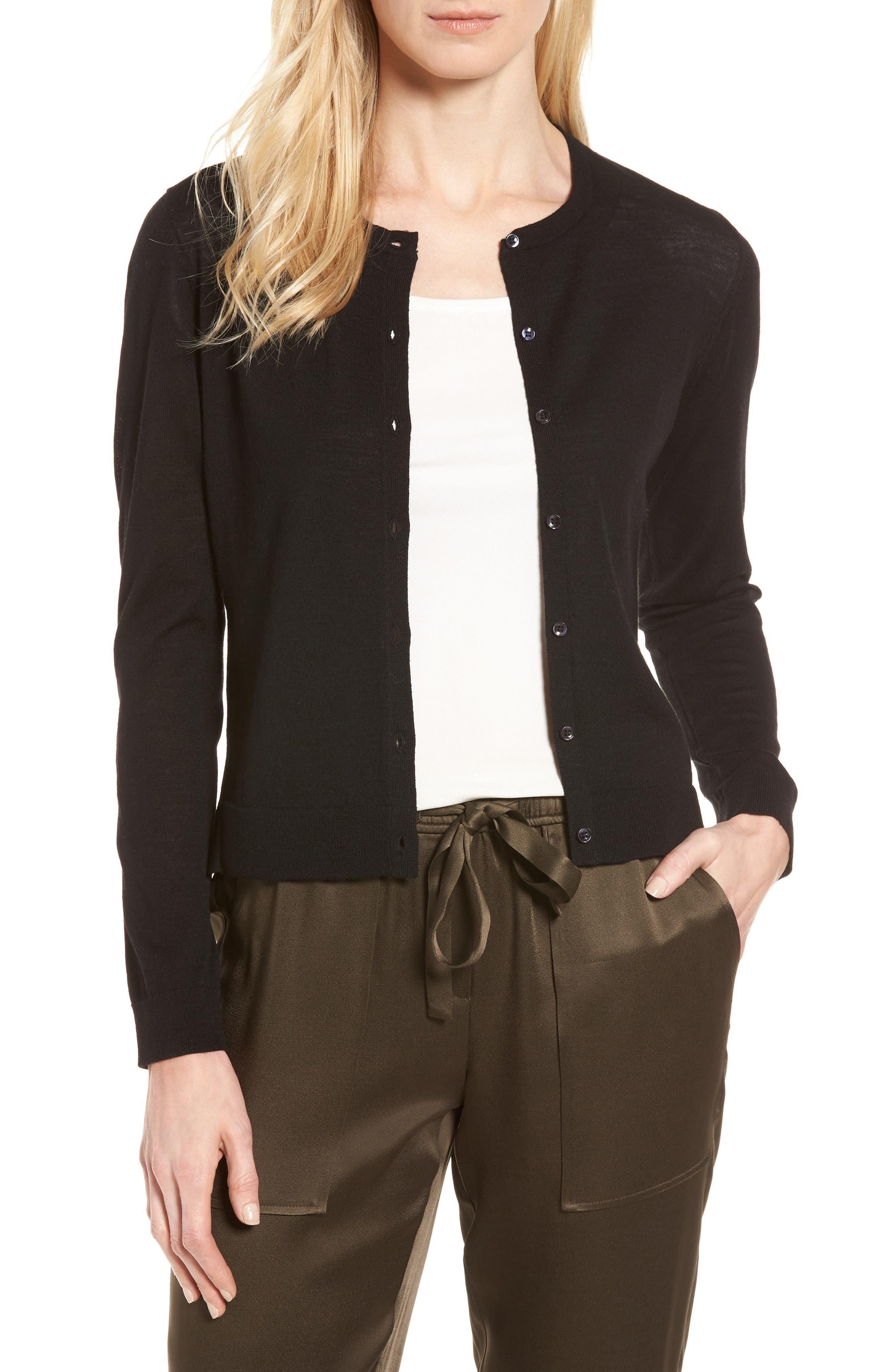 Italian Merino Wool Cardigan,                         Main,                         color, Black