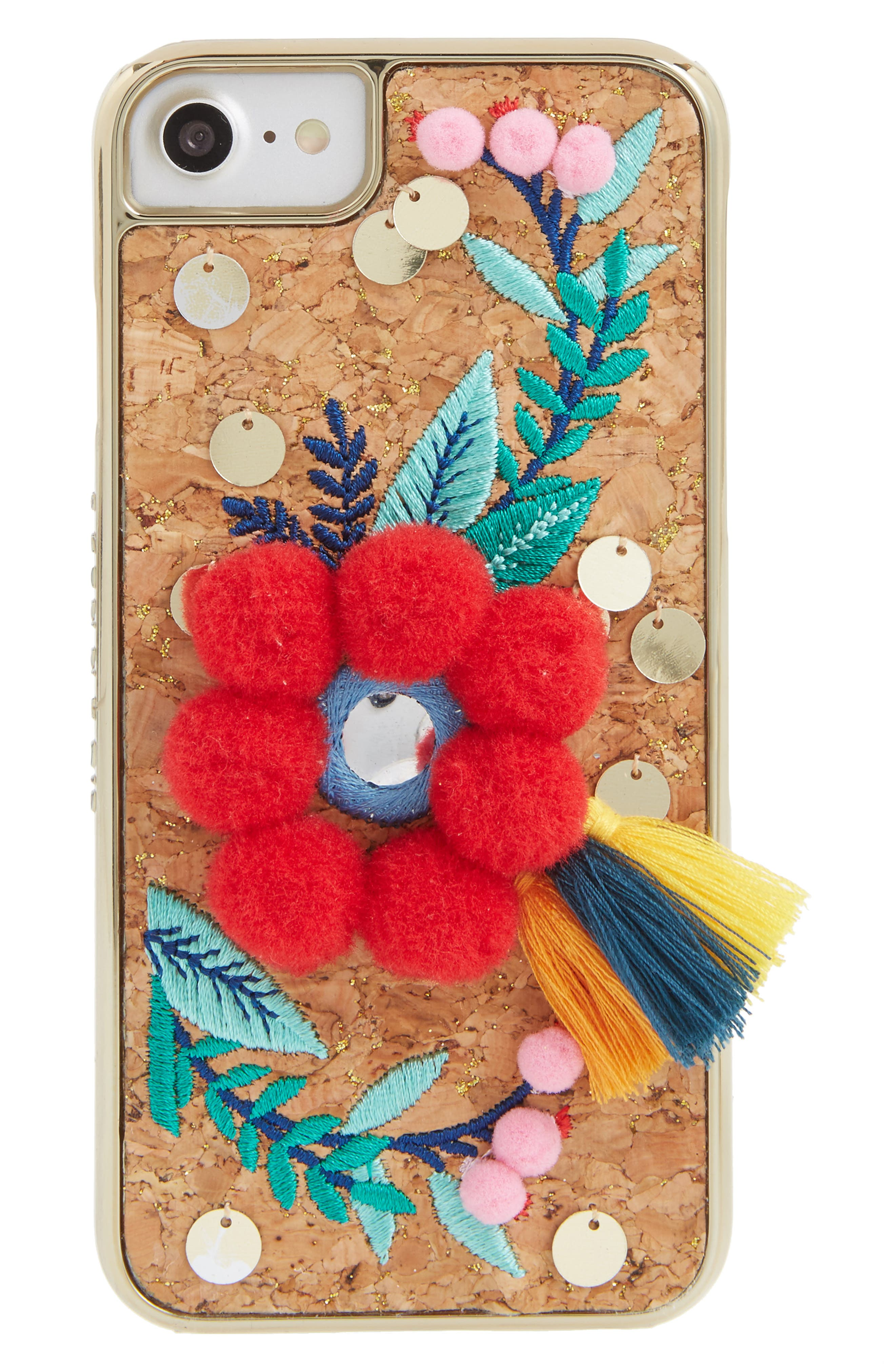 Scandi Pom-Embellished iPhone 6/7 & 6/7 Plus Case,                         Main,                         color, Red