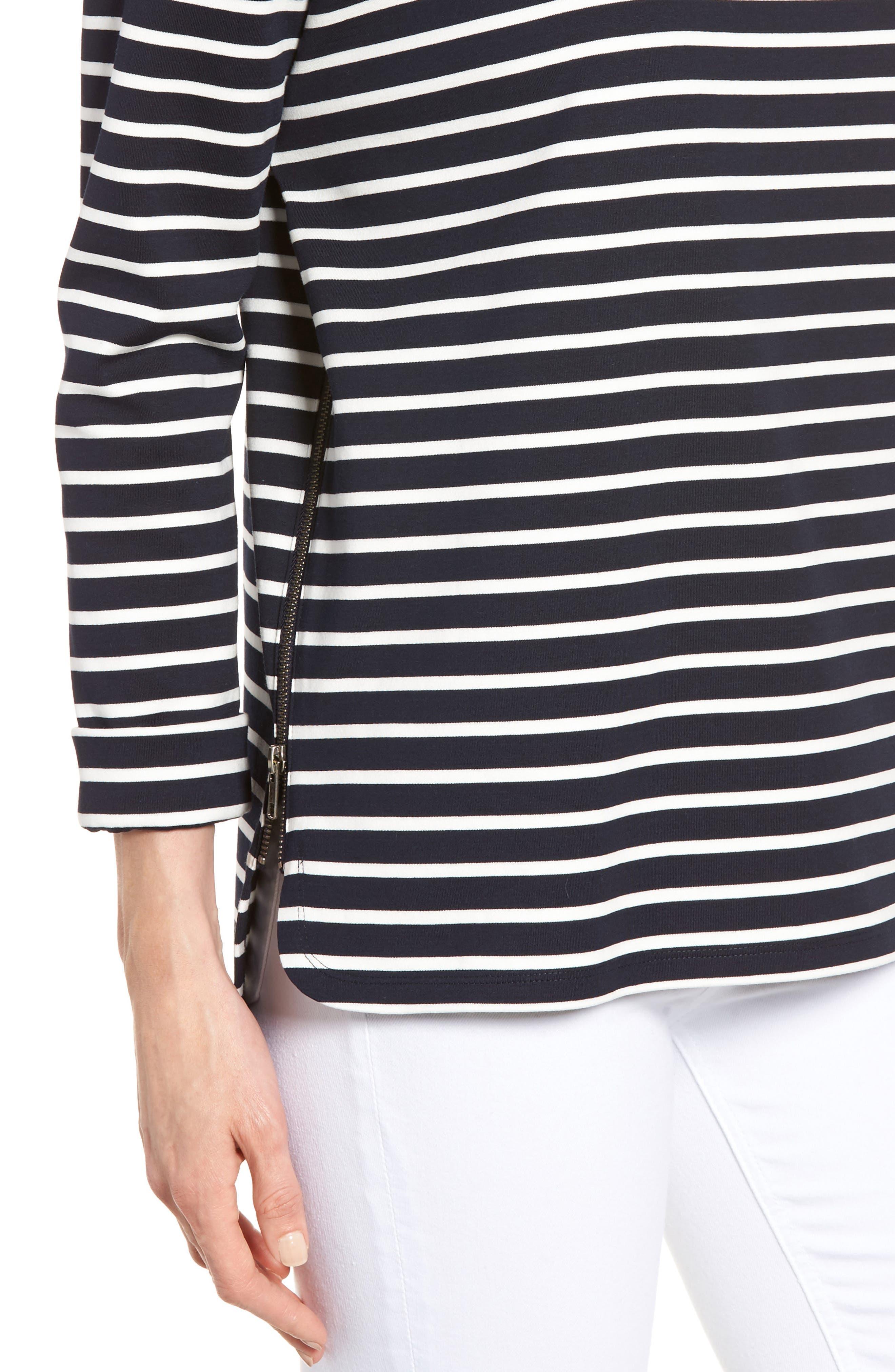 Alternate Image 4  - Nordstrom Signature Side Zip Stripe Sweatshirt