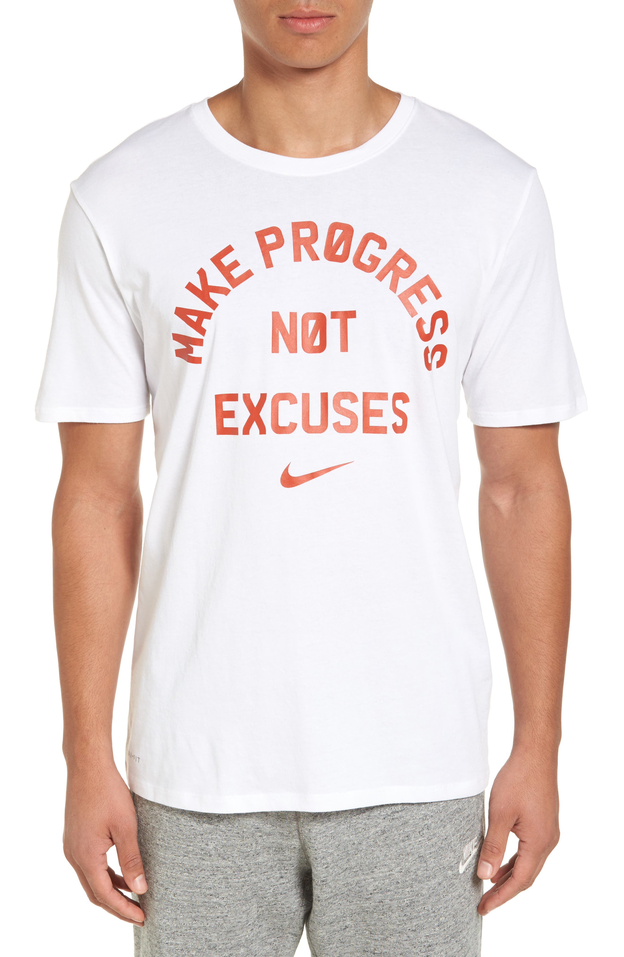 Dry No Excuses Training T-Shirt,                             Main thumbnail 1, color,                             White