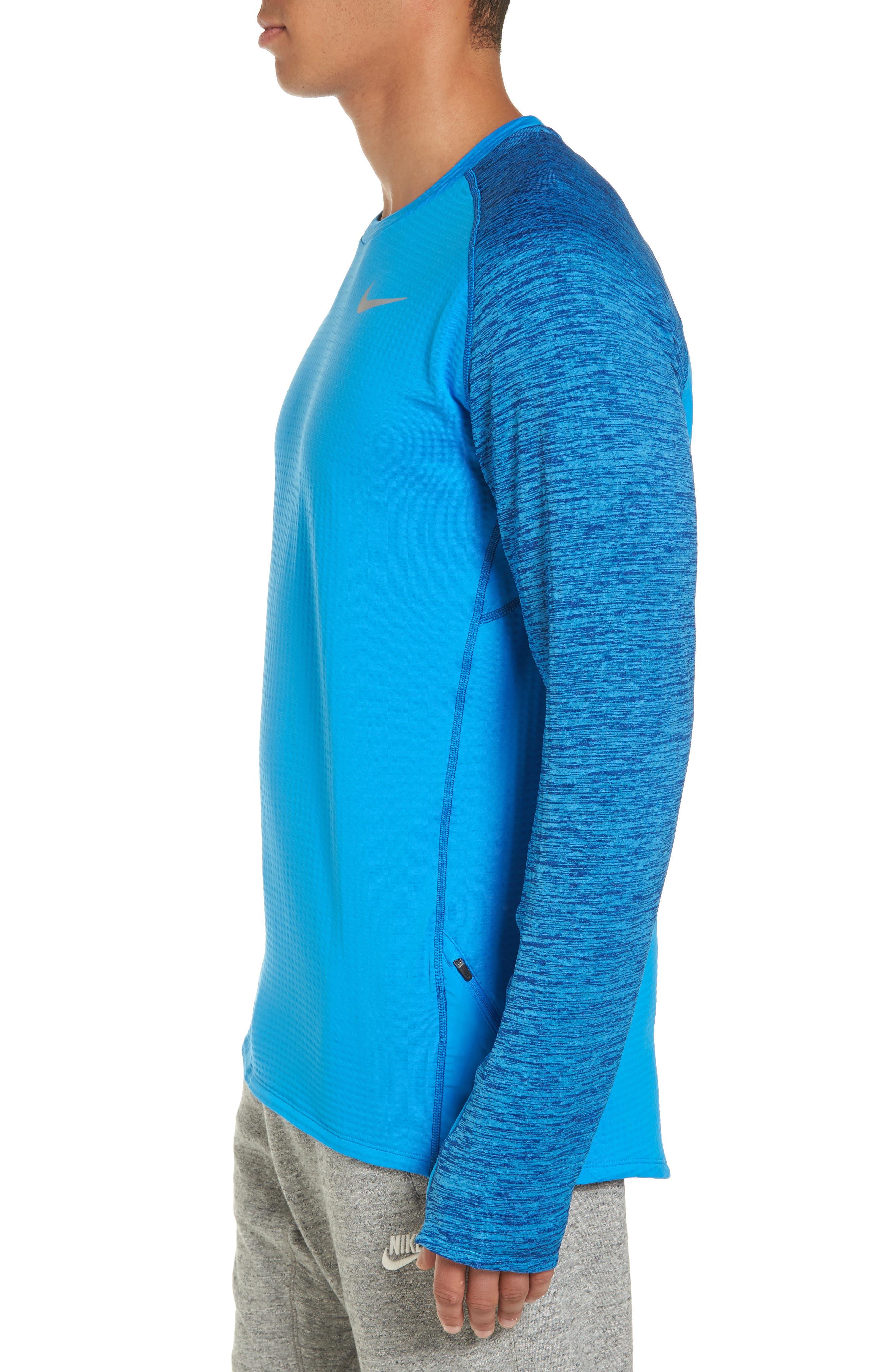 ThermaSphere Long Sleeve Running T-Shirt,                             Alternate thumbnail 3, color,                             Binary Blue/ Purple/ Heather