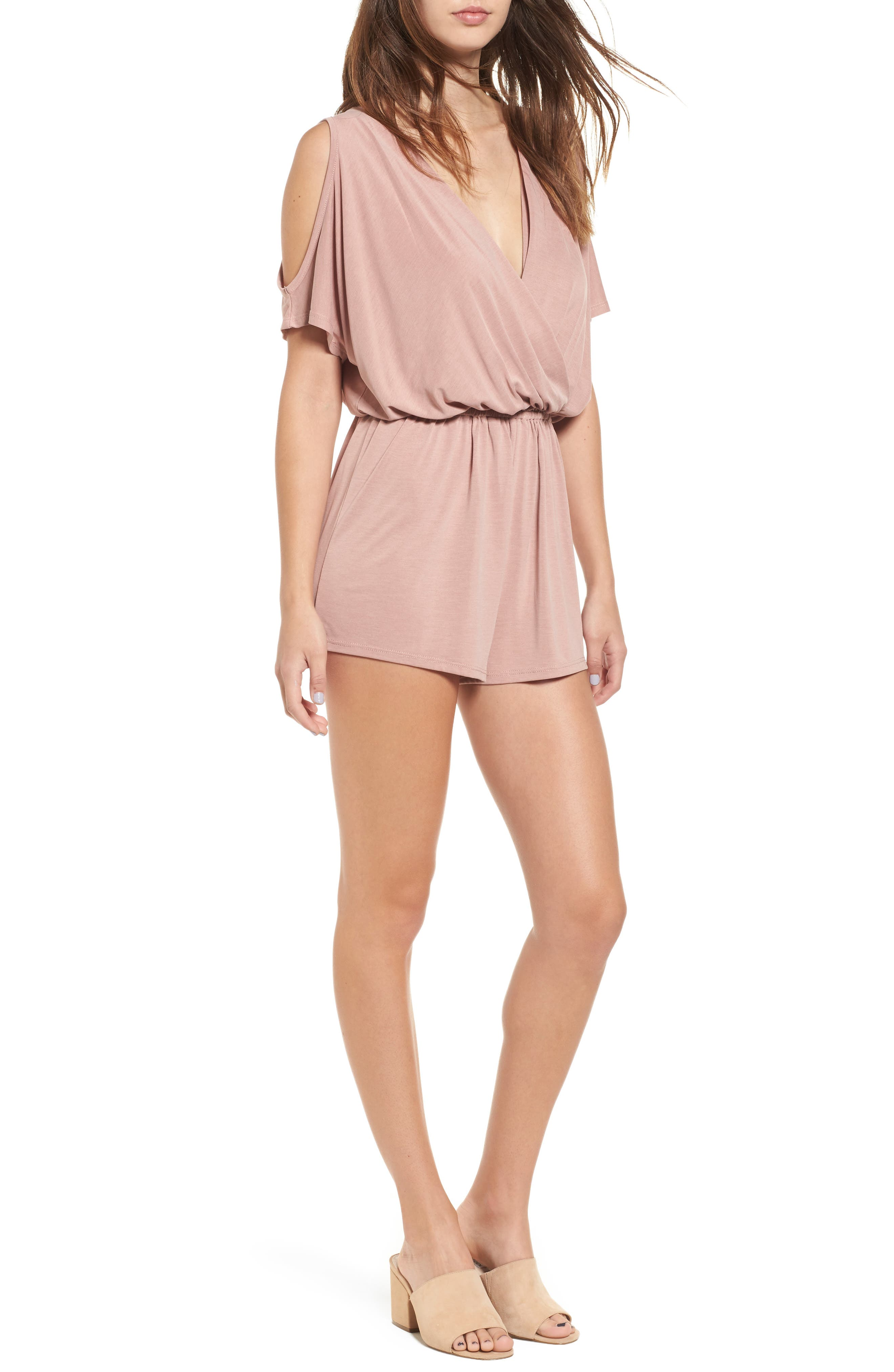 Cold Shoulder Romper,                         Main,                         color, Pink Compact