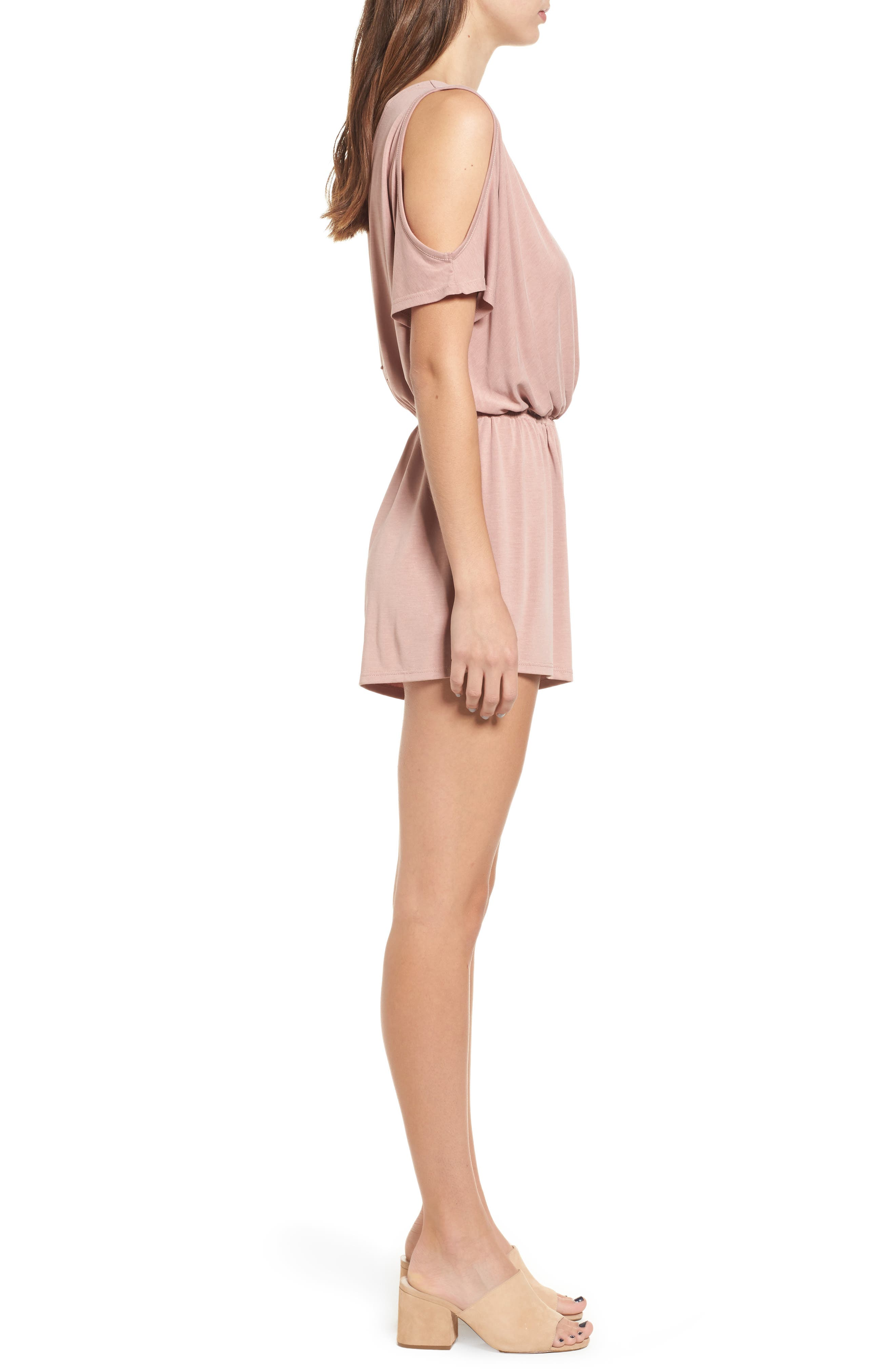 Cold Shoulder Romper,                             Alternate thumbnail 3, color,                             Pink Compact