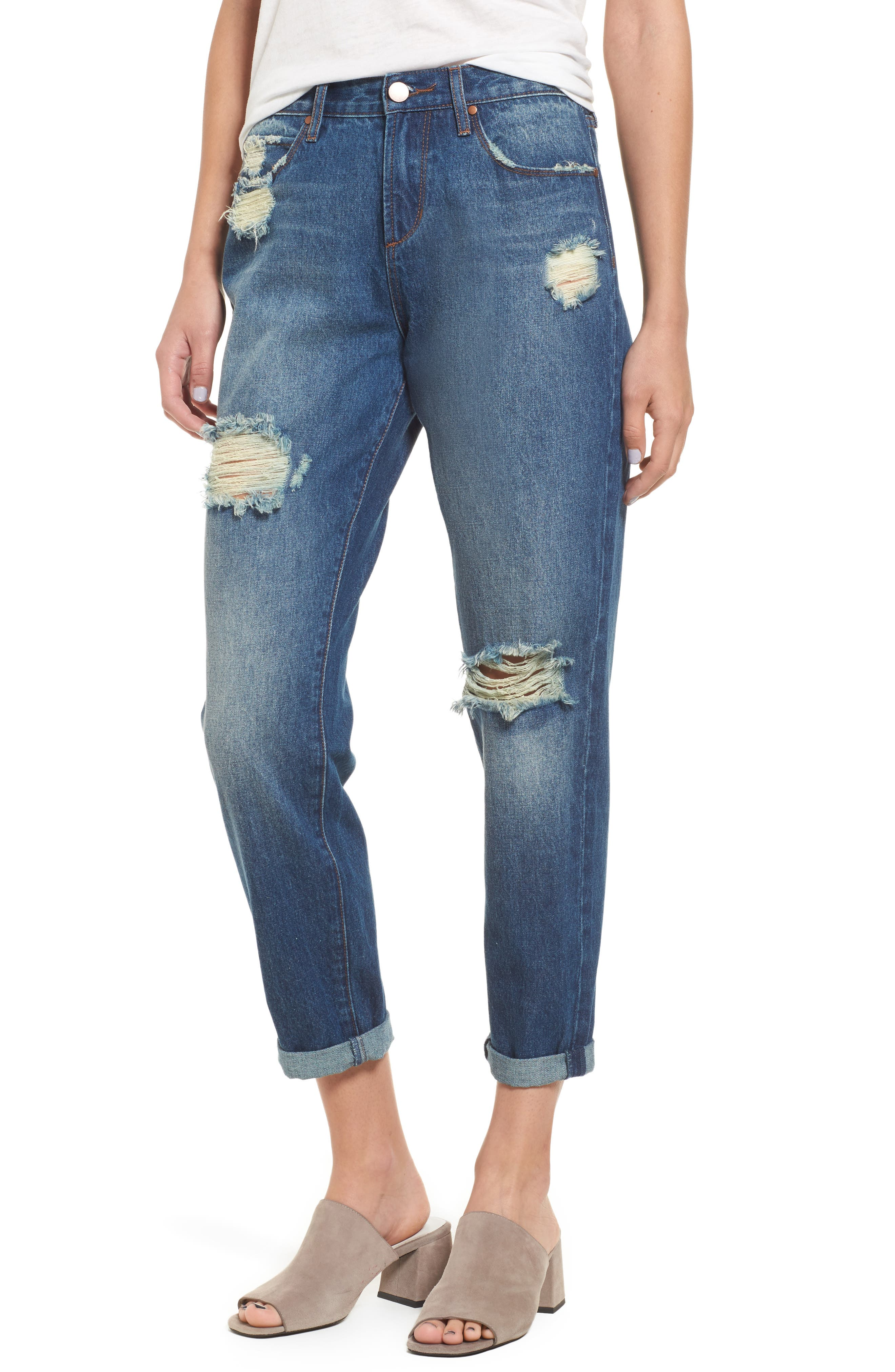 Leith Ripped High Waist Boyfriend Jeans
