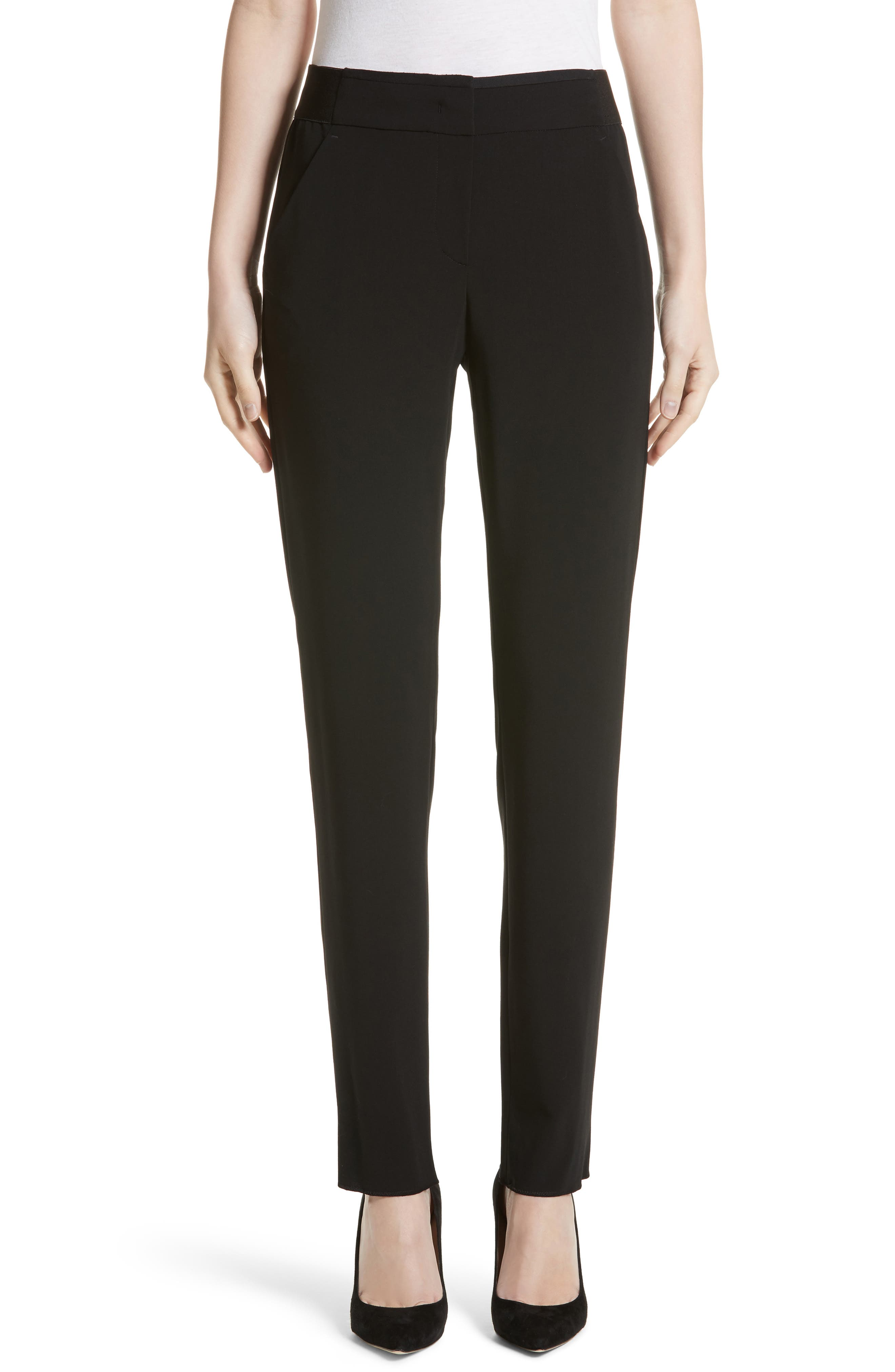 Armani Collezioni Stretch Wool Pants,                             Main thumbnail 1, color,                             Black