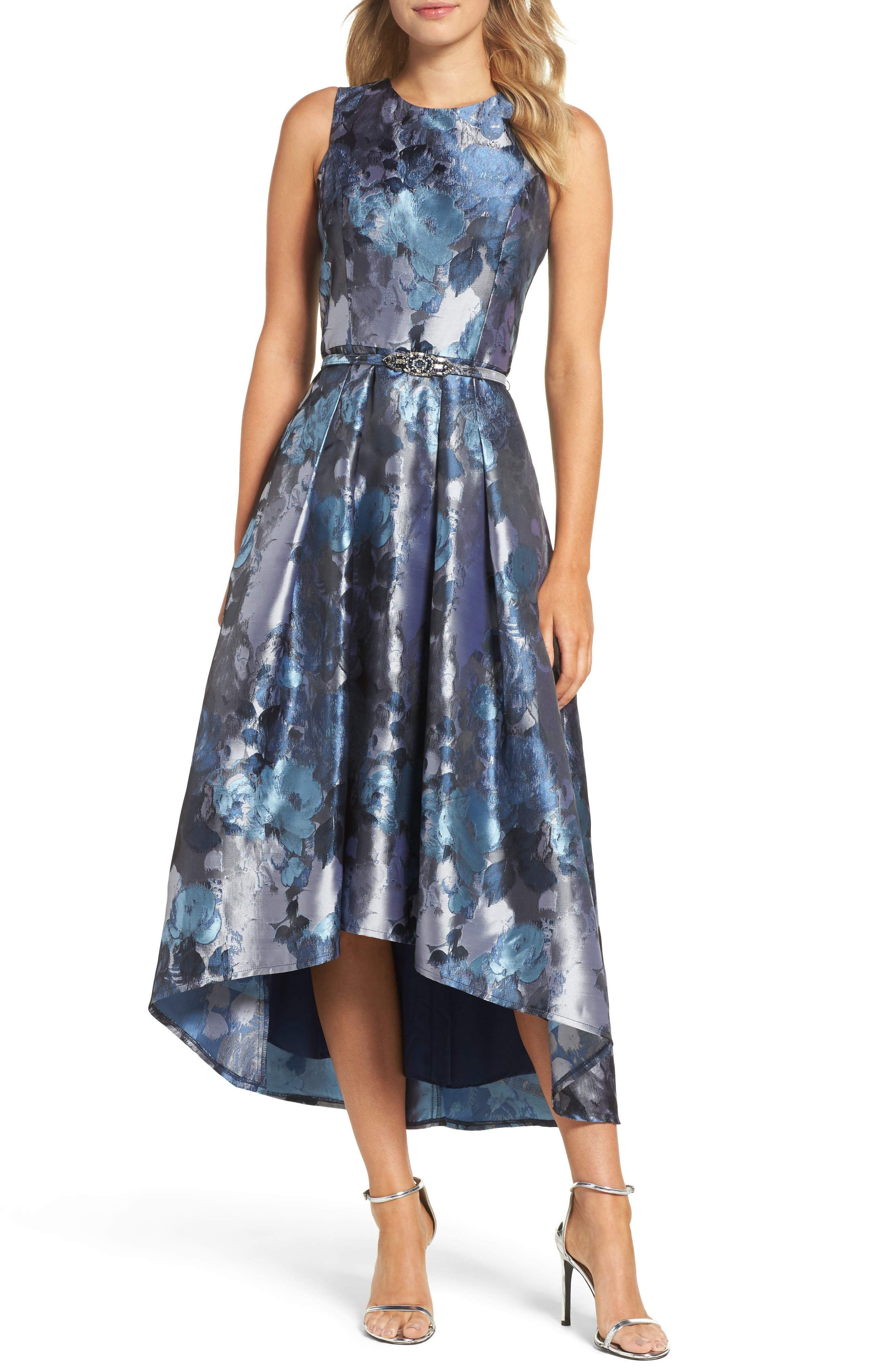 Jacquard High/Low Dress,                         Main,                         color, Blue Grey