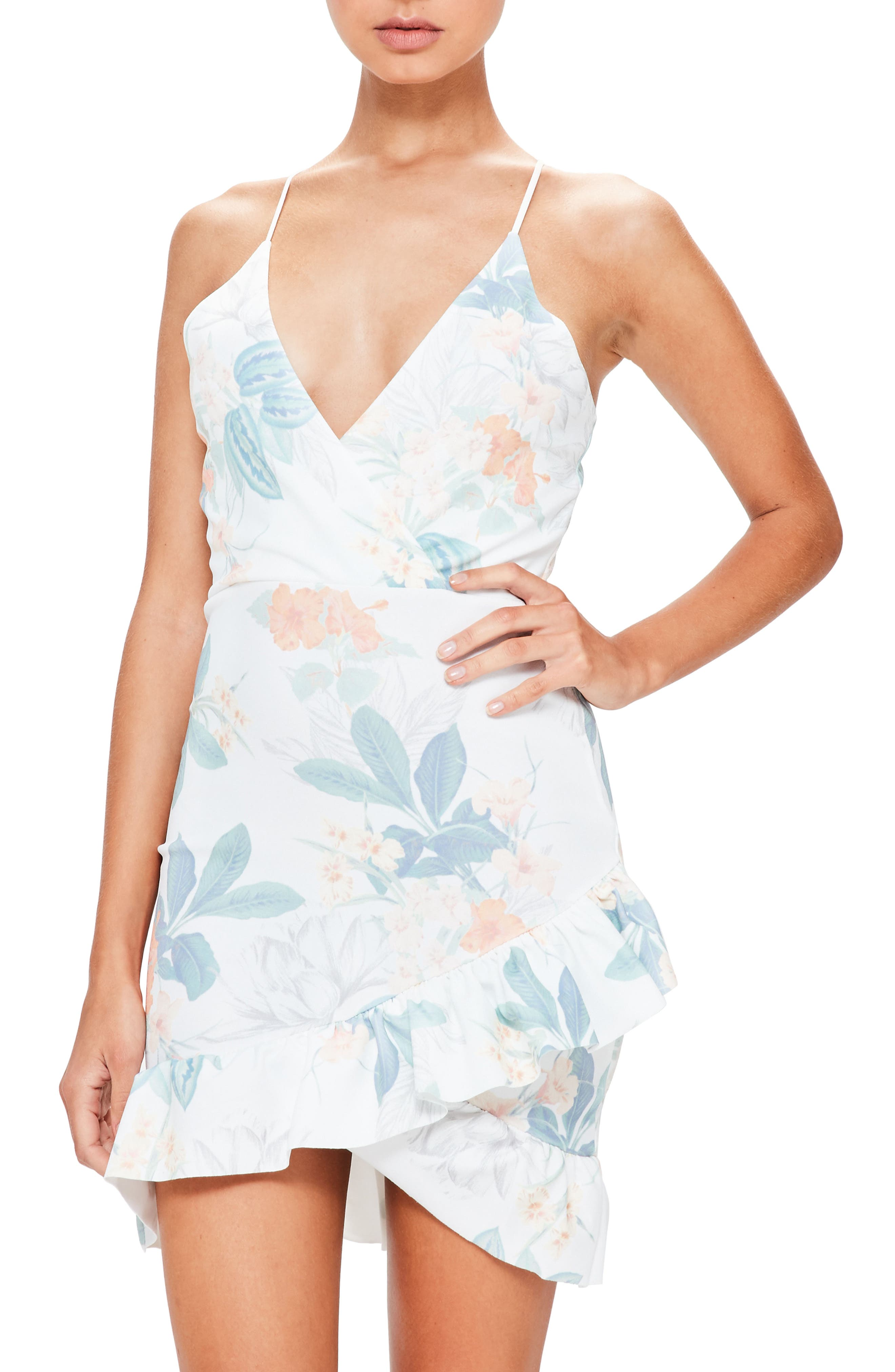 Ruffle Hem Dress,                             Alternate thumbnail 4, color,                             White
