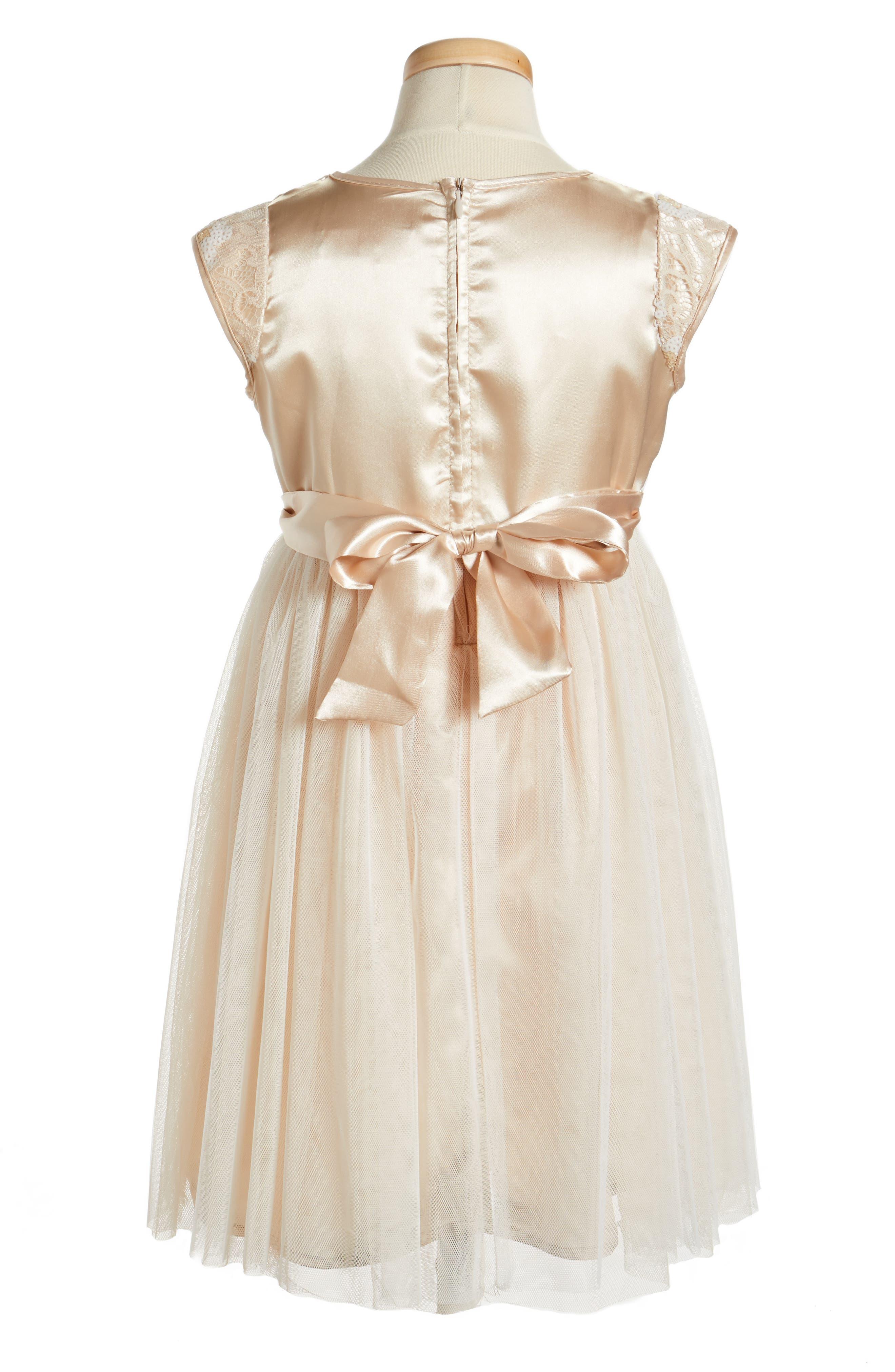 Sequin Flower Dress,                             Alternate thumbnail 2, color,                             Ivory