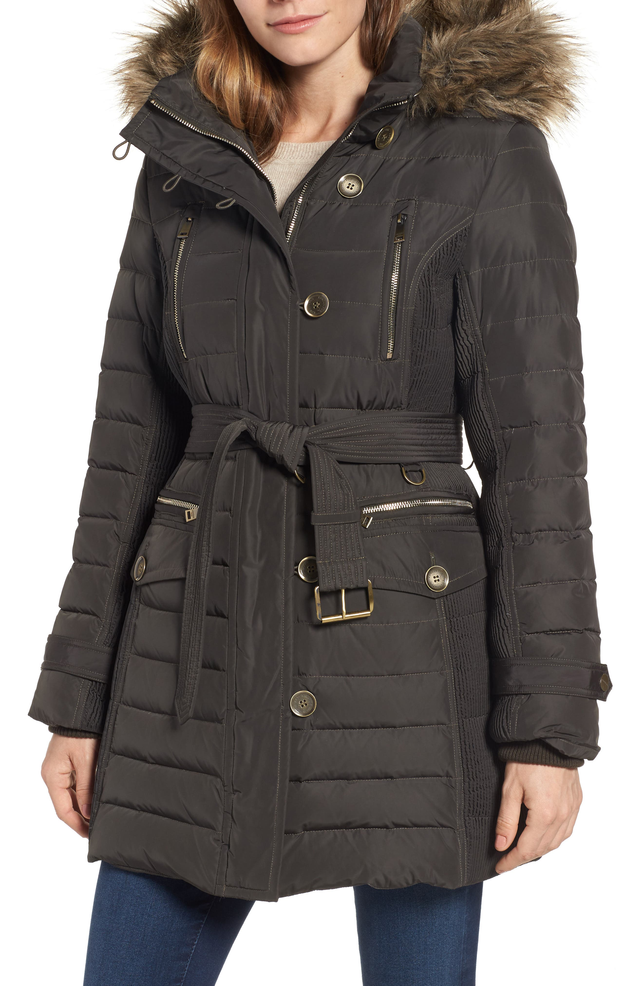 Belted Down Coat with Faux Fur Trim,                         Main,                         color, Army