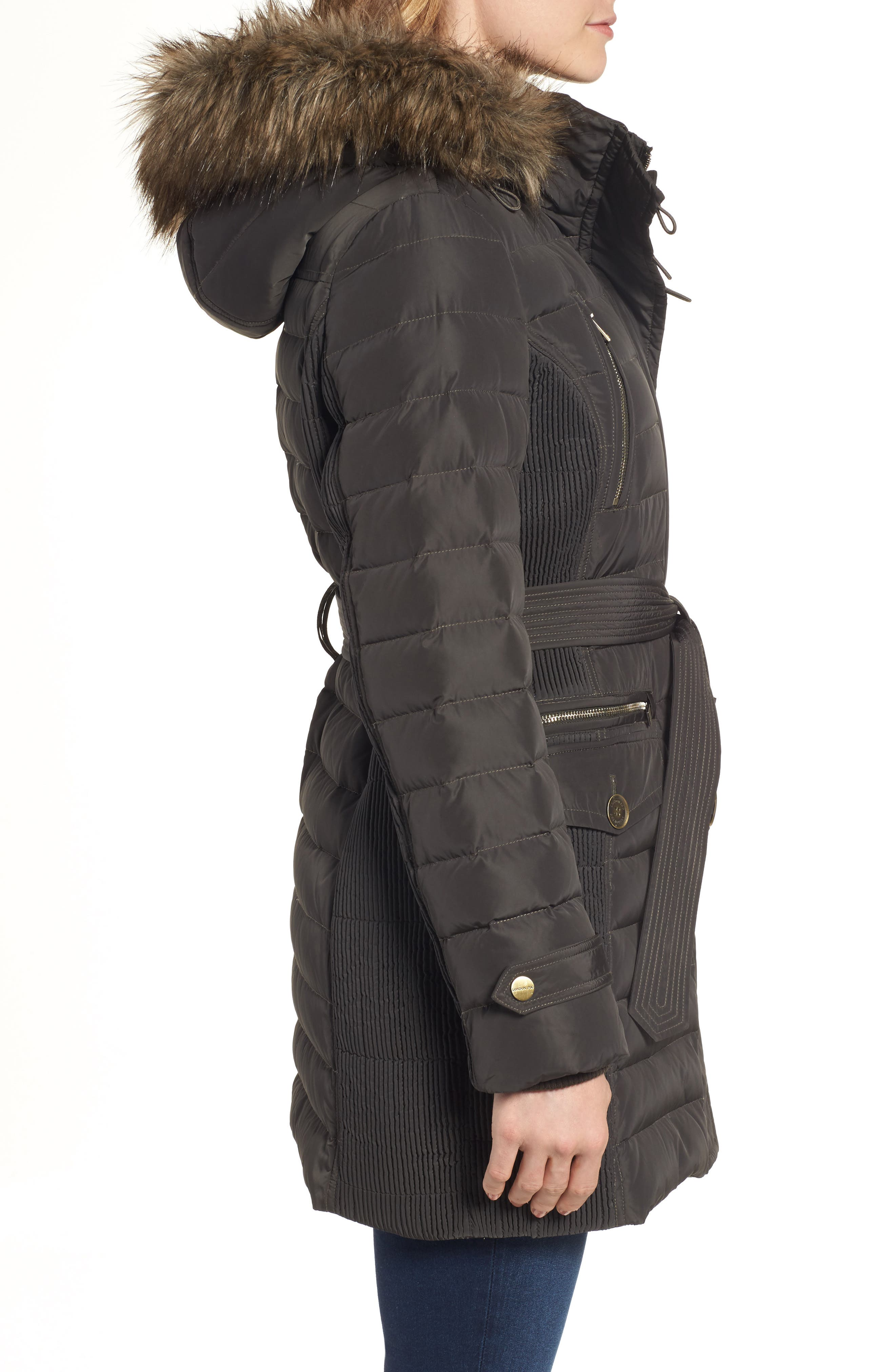 Belted Down Coat with Faux Fur Trim,                             Alternate thumbnail 3, color,                             Army