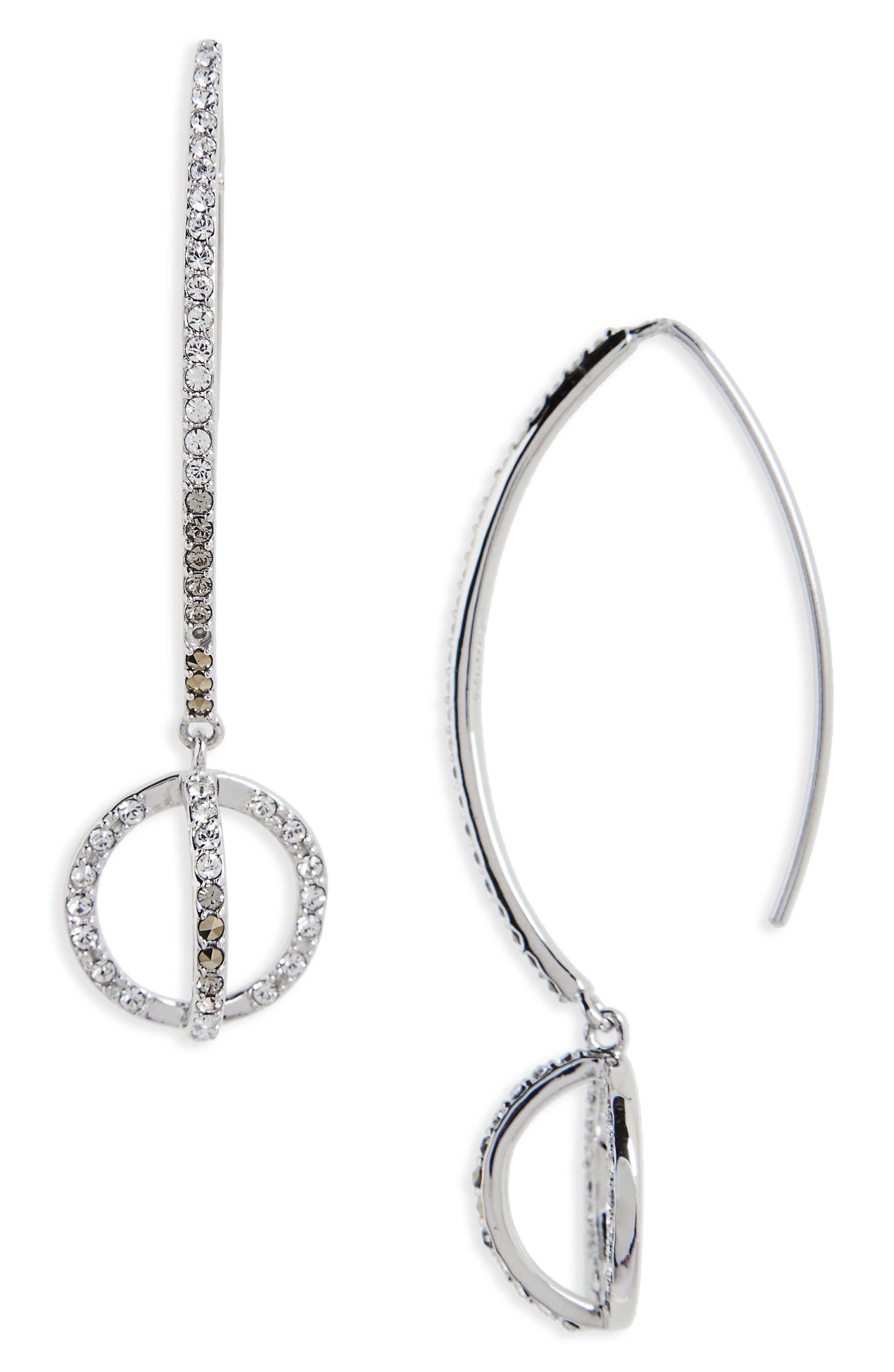 Silver Sparkle Threader Earrings,                         Main,                         color, Black Diamond/ Marcasite