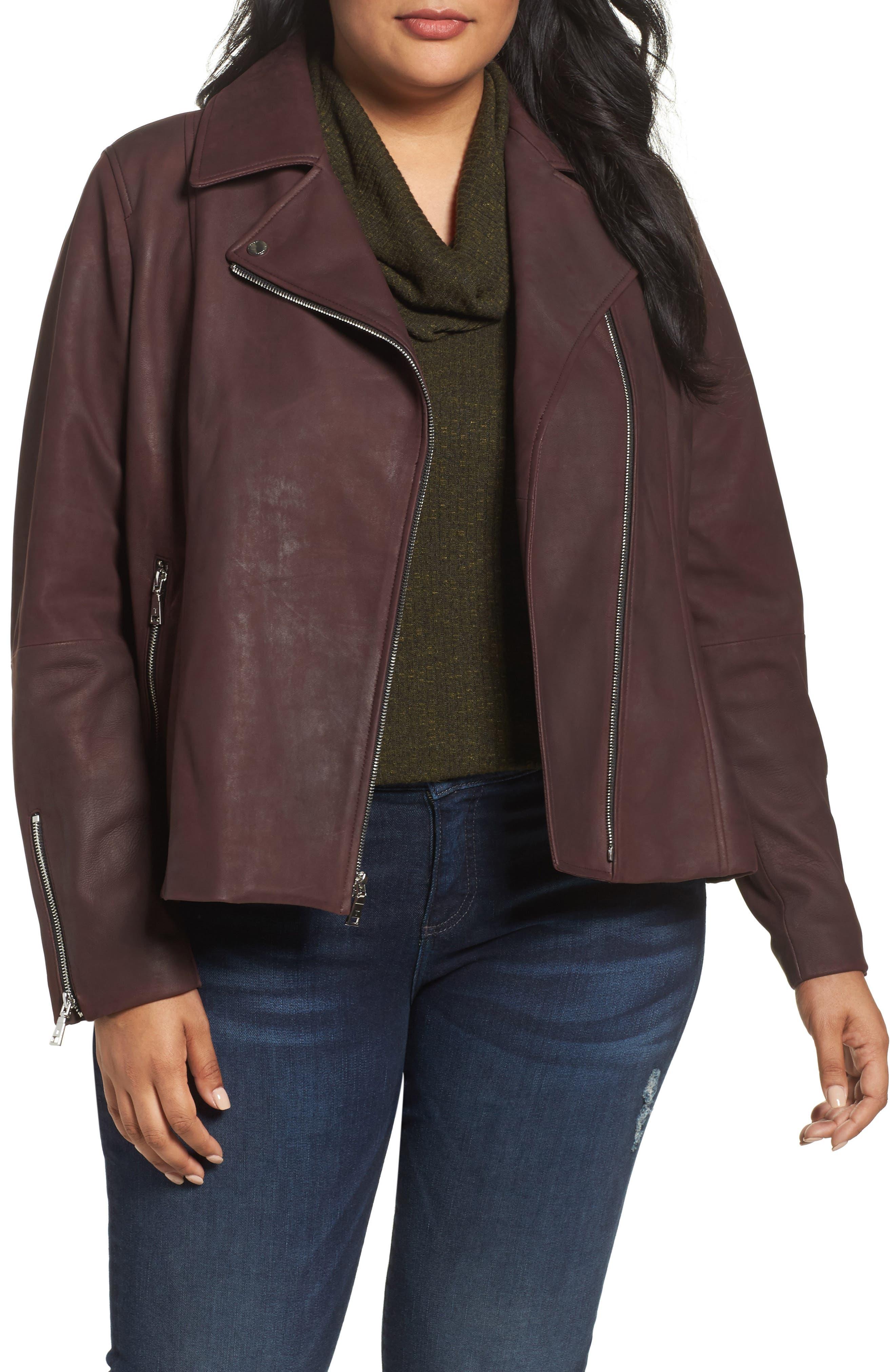 Tahari Skylar Leather Moto Jacket (Plus Size)