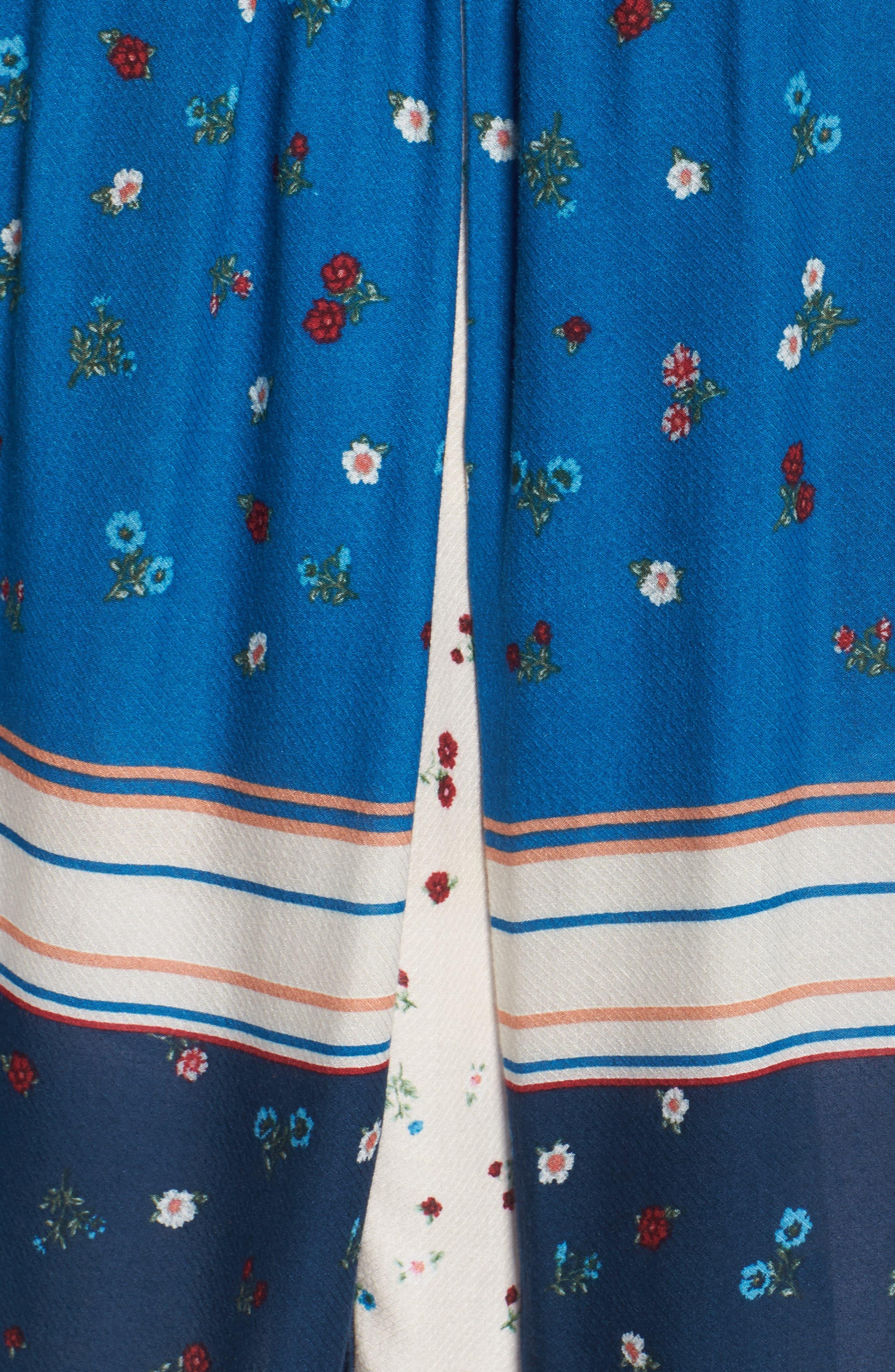 Pleat Cold Shoulder Top,                             Alternate thumbnail 5, color,                             Celestial Blue