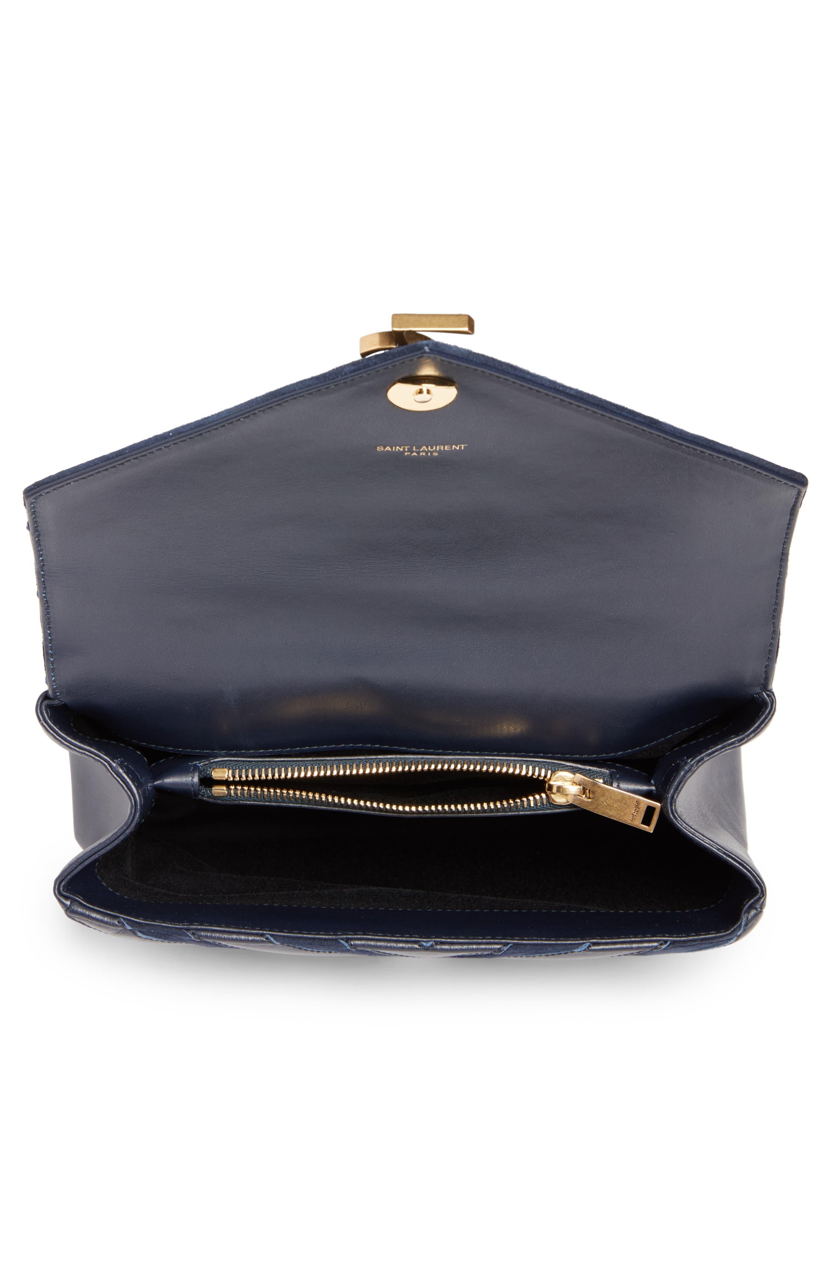 Medium College Patchwork Suede & Leather Shoulder Bag,                             Alternate thumbnail 4, color,                             Deep Marine