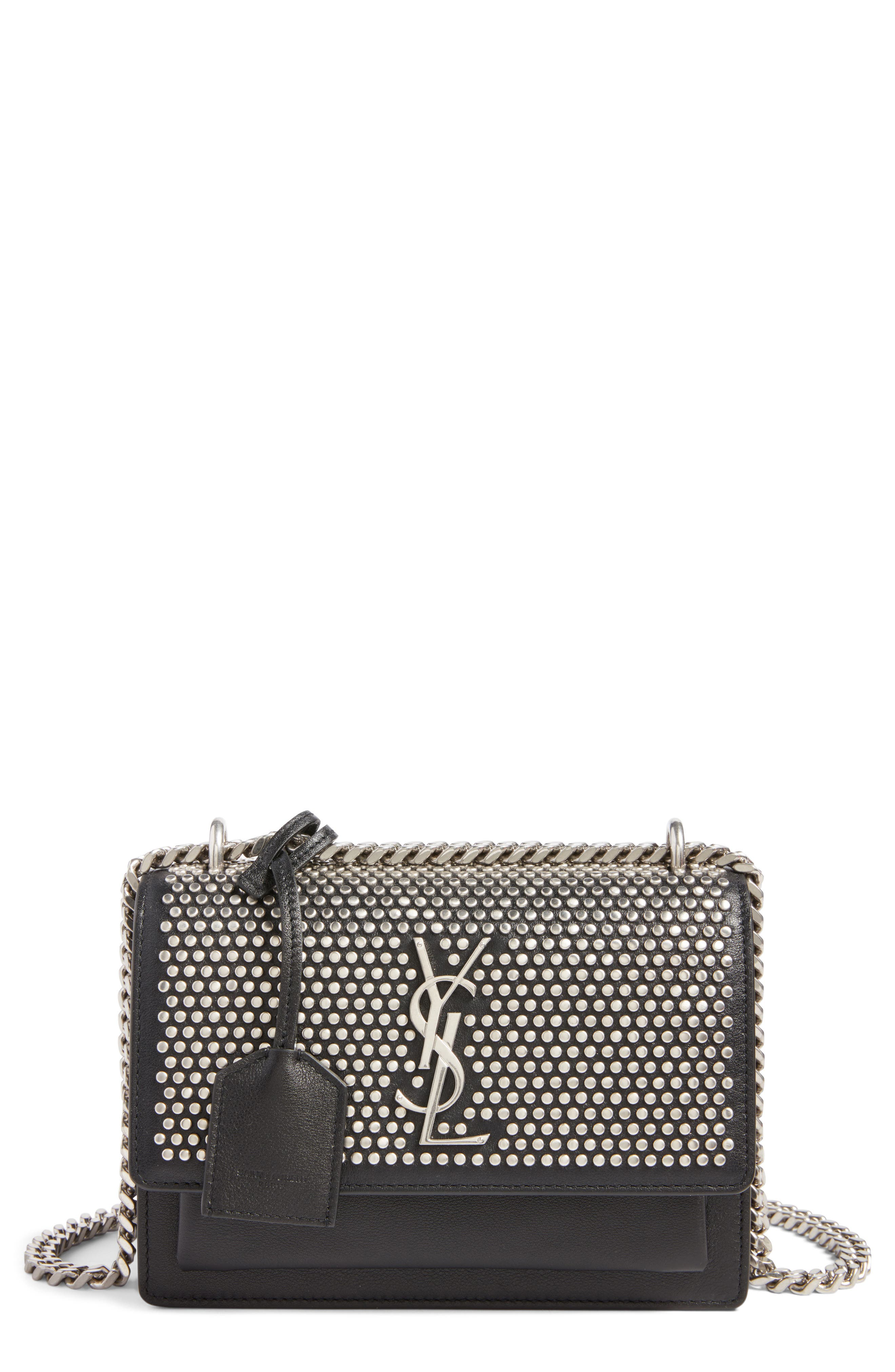 Alternate Image 1 Selected - Saint Laurent Small Sunset Studded Leather Shoulder Bag