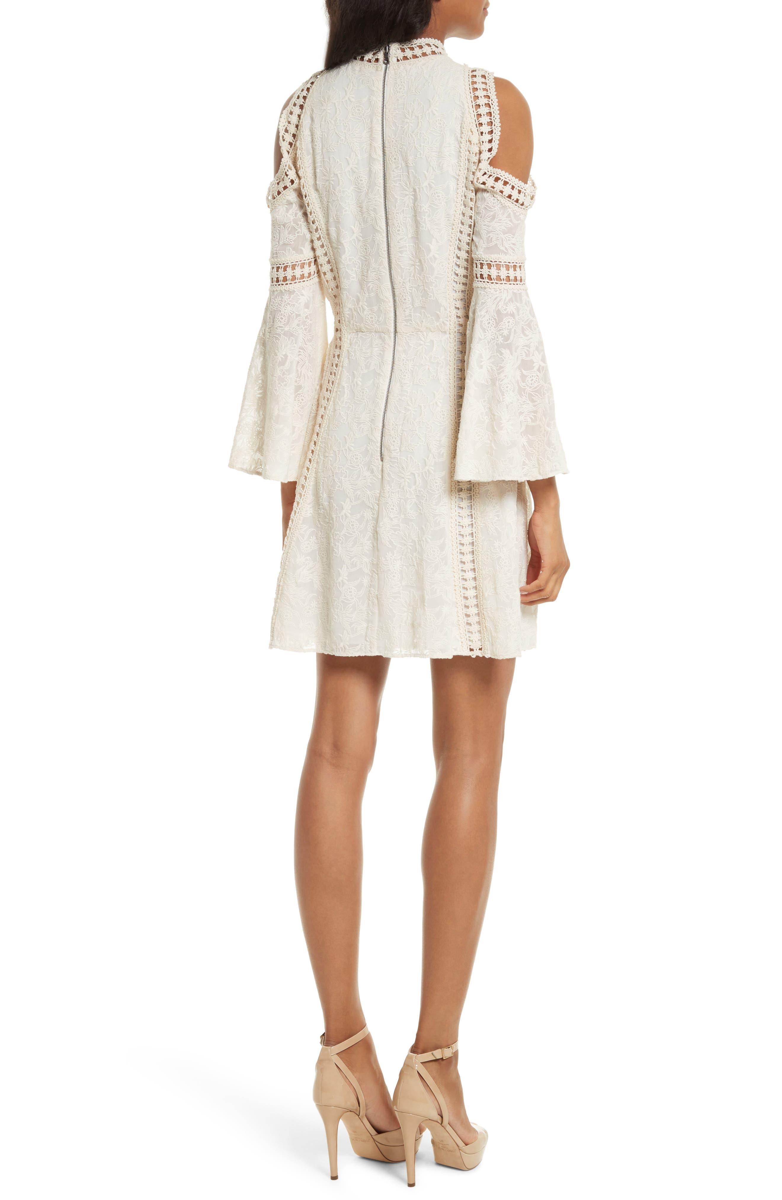 Enya Embroidered Cold Shoulder Dress,                             Alternate thumbnail 2, color,                             Cream