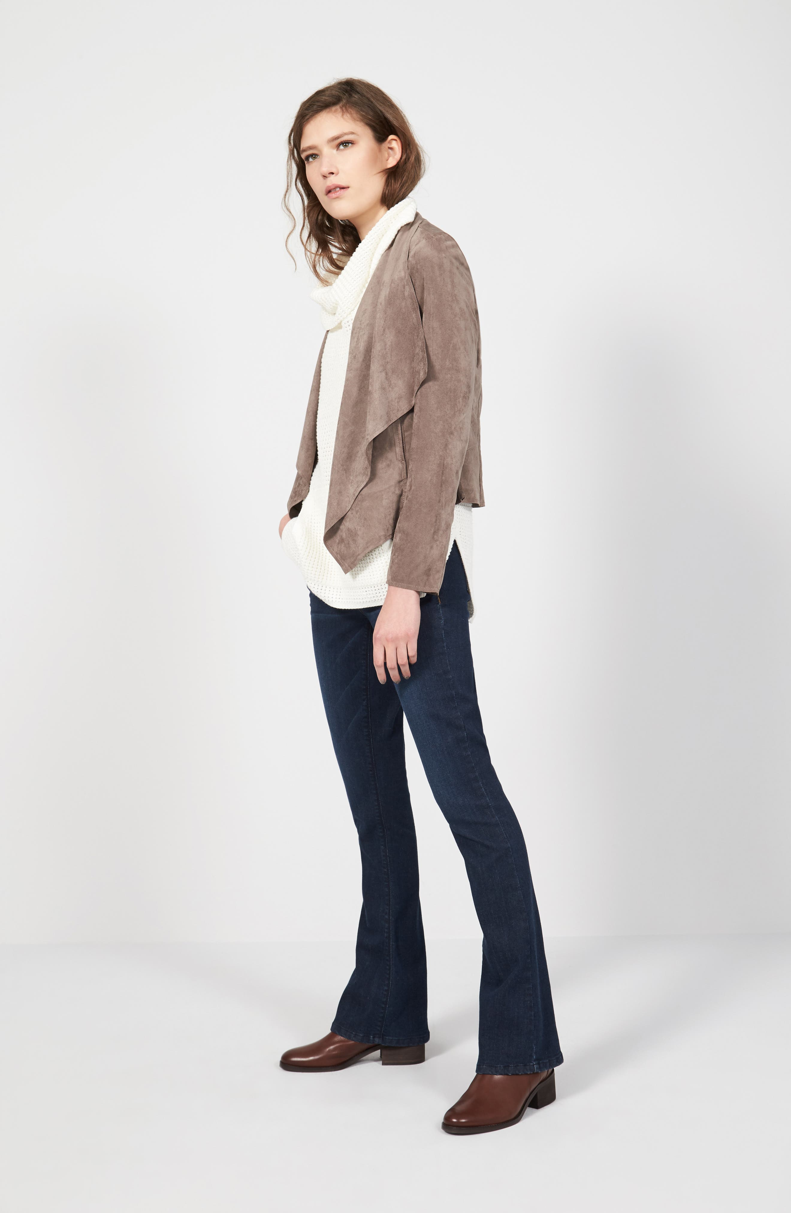 KUT from the Kloth Jacket, Two by Vince Camuto Vest & Wit & Wisdom Jeans Outfit with Accessories