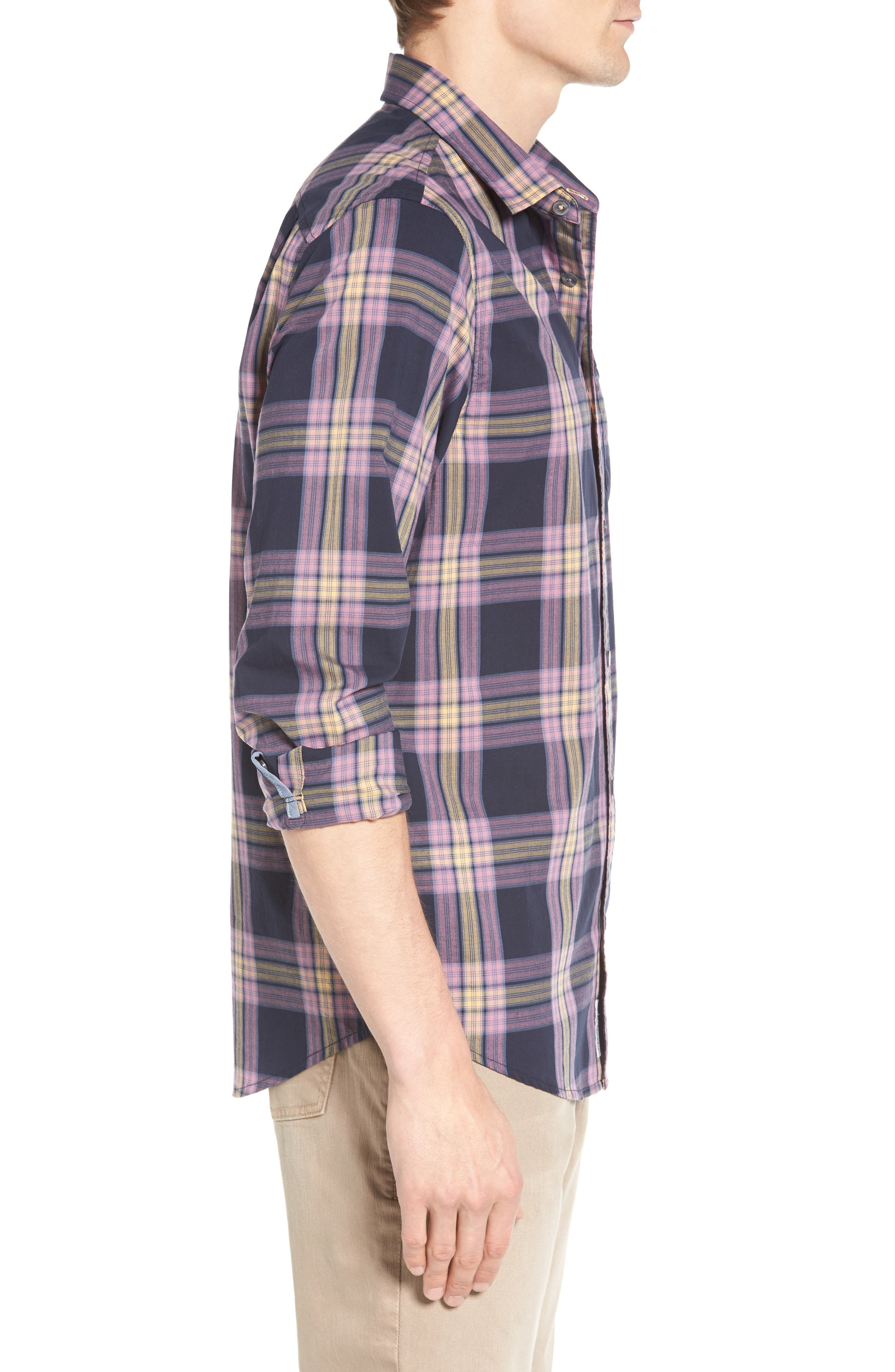 Heritage Slim Fit Plaid Woven Shirt,                             Alternate thumbnail 3, color,                             Dark Sapphire