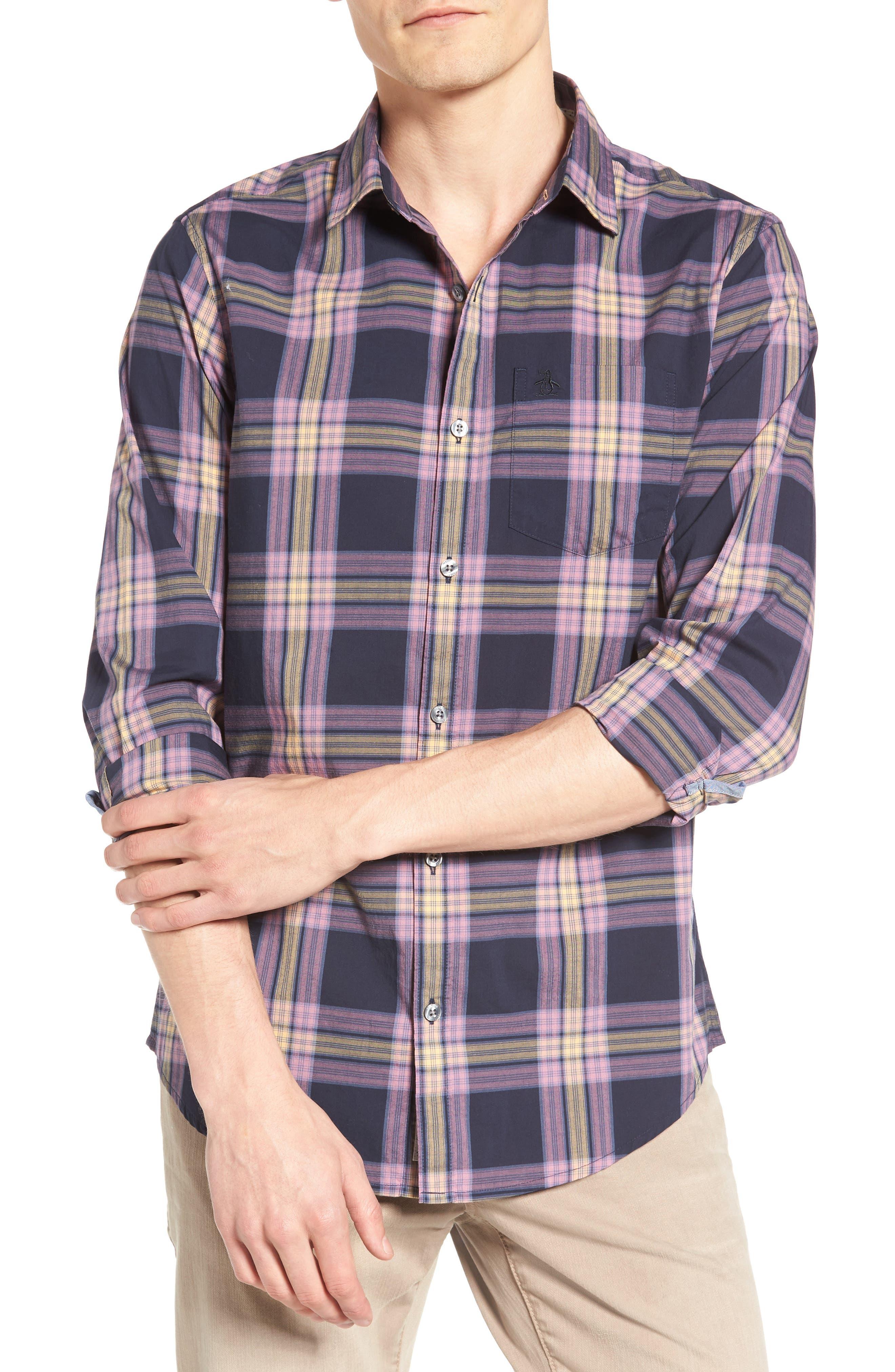 Heritage Slim Fit Plaid Woven Shirt,                         Main,                         color, Dark Sapphire