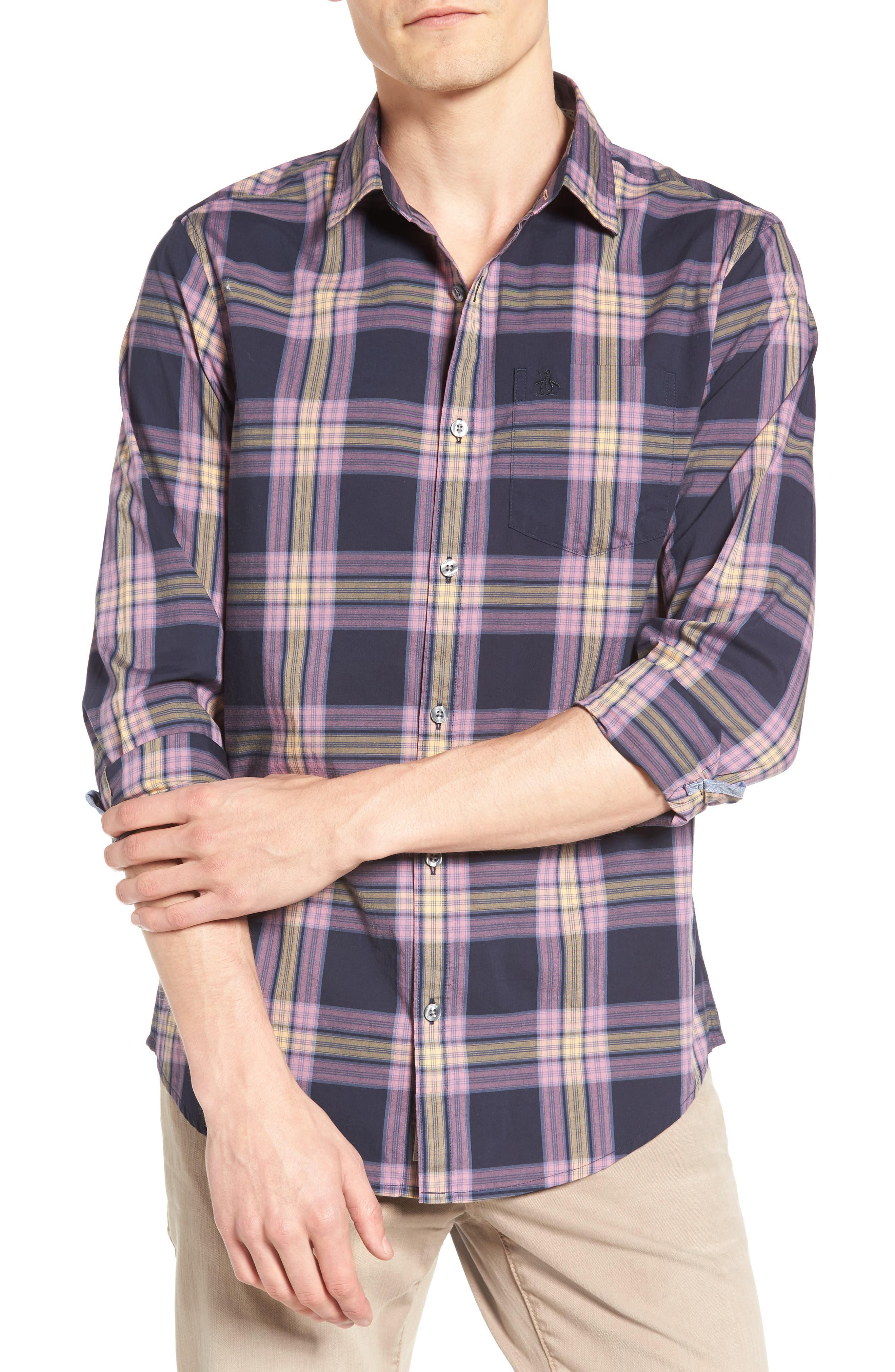 Heritage Slim Fit Plaid Woven Shirt,                         Main,                         color, Dark Sapphire