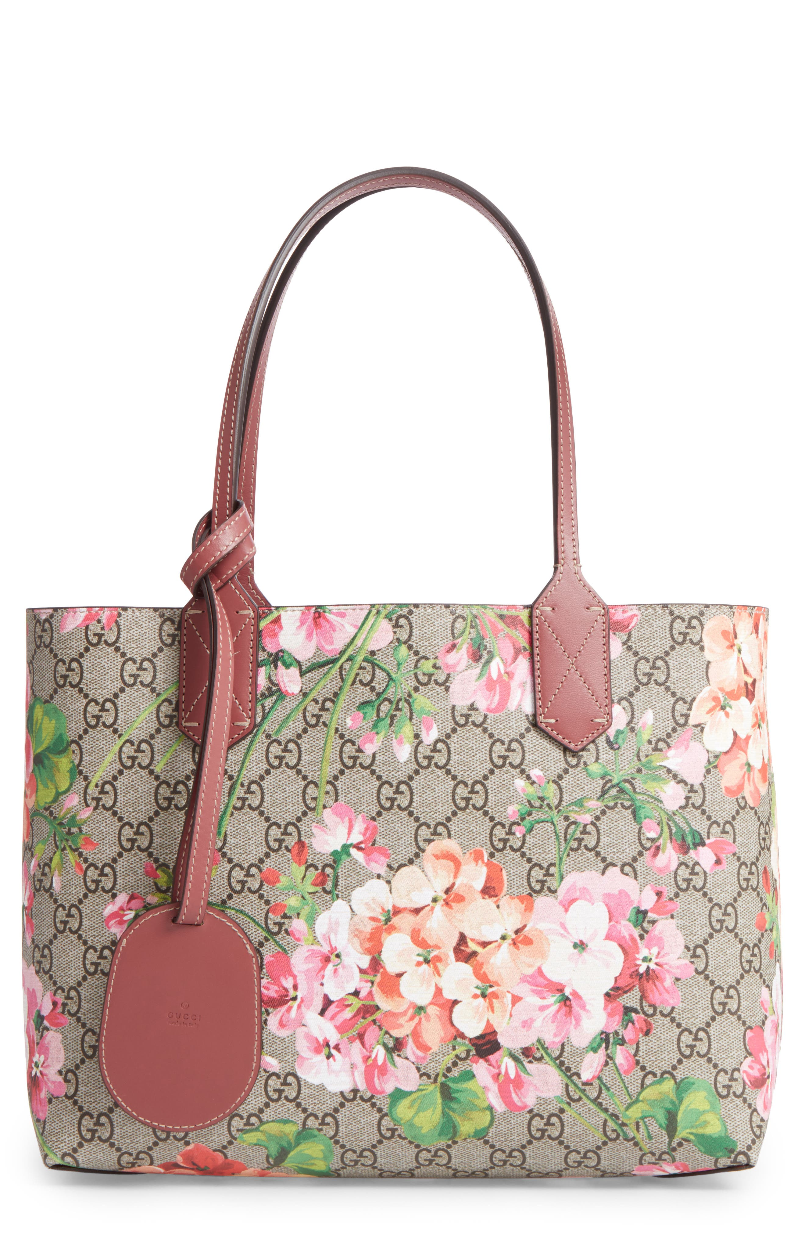 gucci bags pink. gucci small gg blooms reversible canvas \u0026 leather tote bags pink