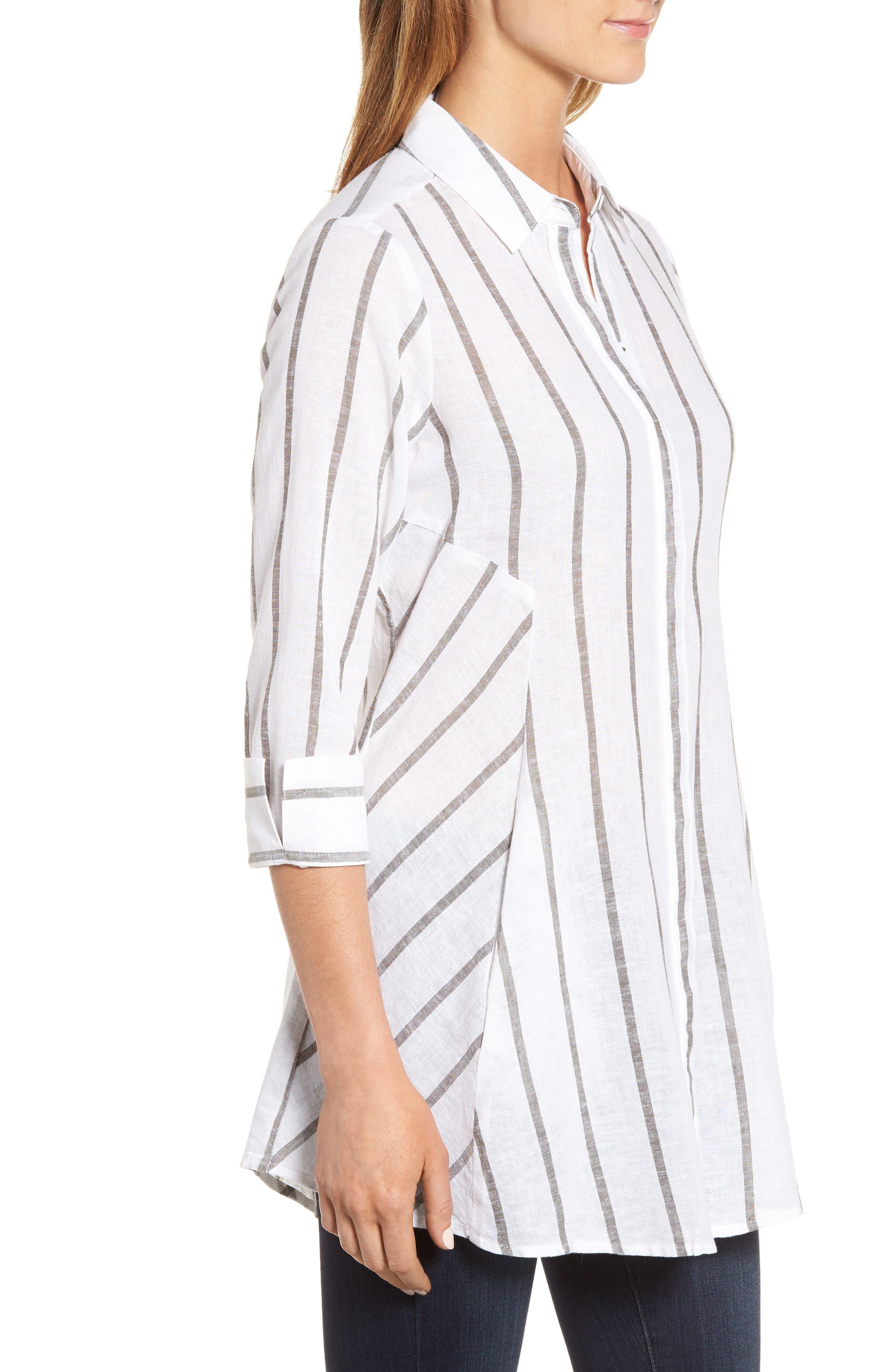 Stripe Tunic Shirt,                             Alternate thumbnail 3, color,                             White/ Olive